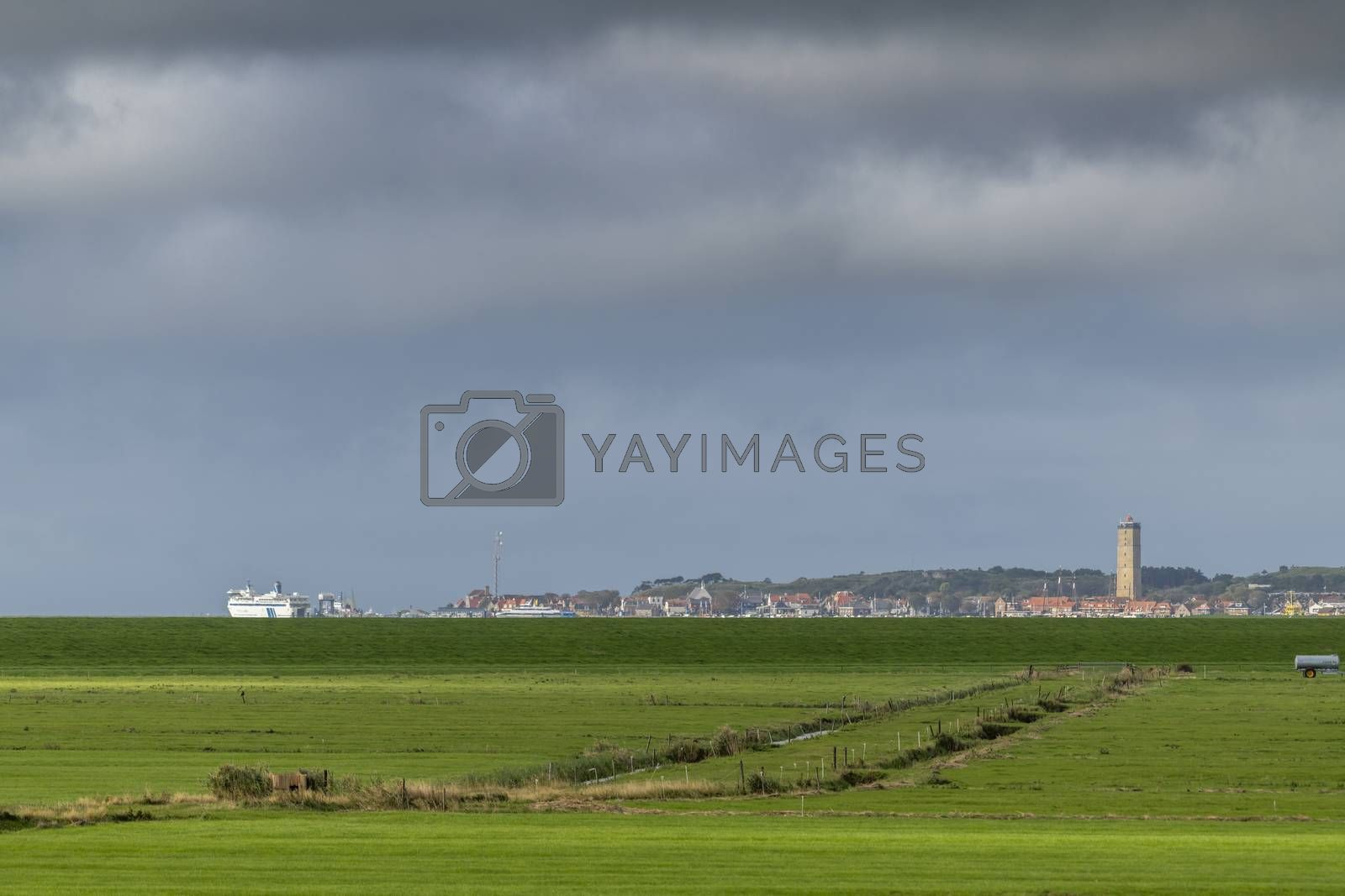 Royalty free image of West Terschelling seen from the island of Terschelling   by Tofotografie