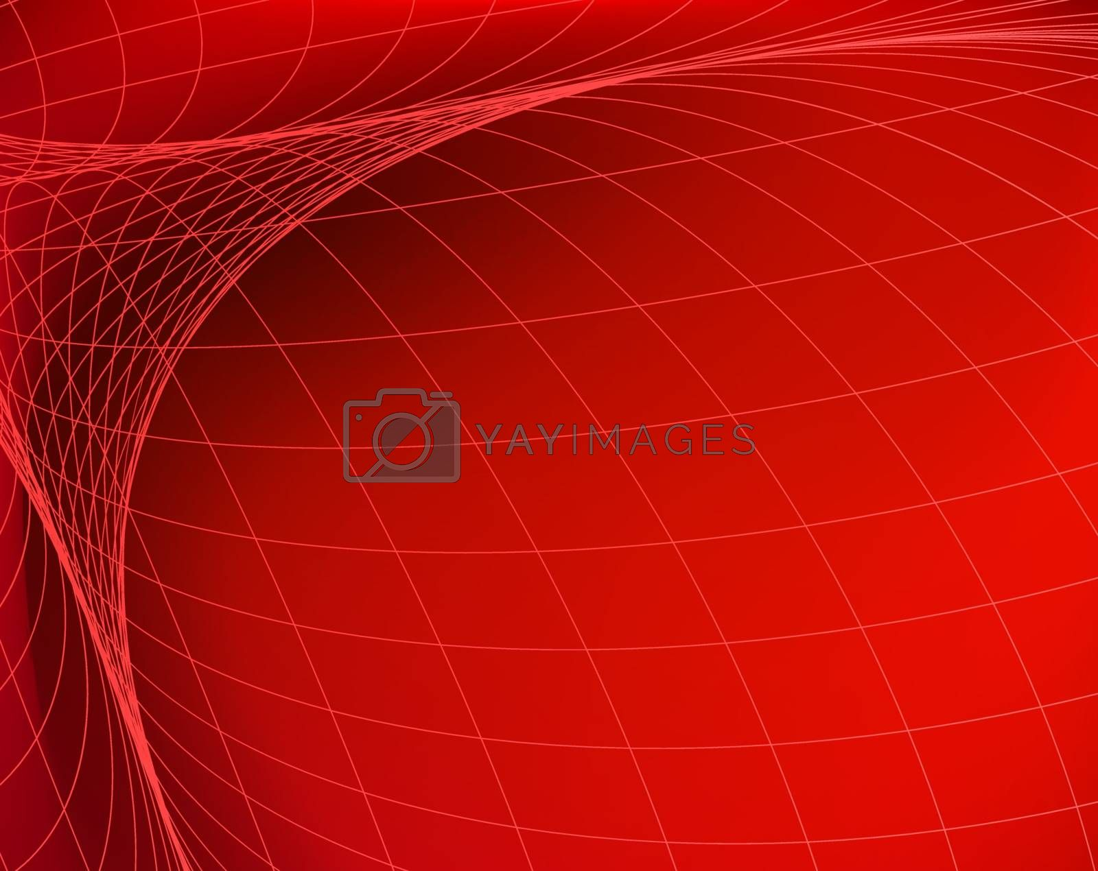 Geometric structure. Network in red space. Abstract technology banner.