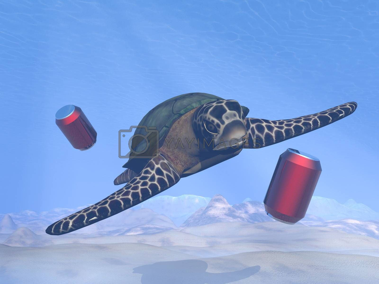 Environmental problem of pollution in the oceans with a turtle - 3D render