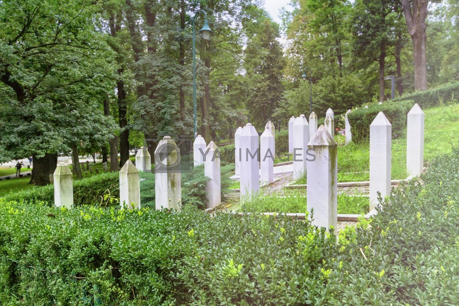 Muslim war graves in a garden in Sarajevo by day, Bosnia-Herzegovina