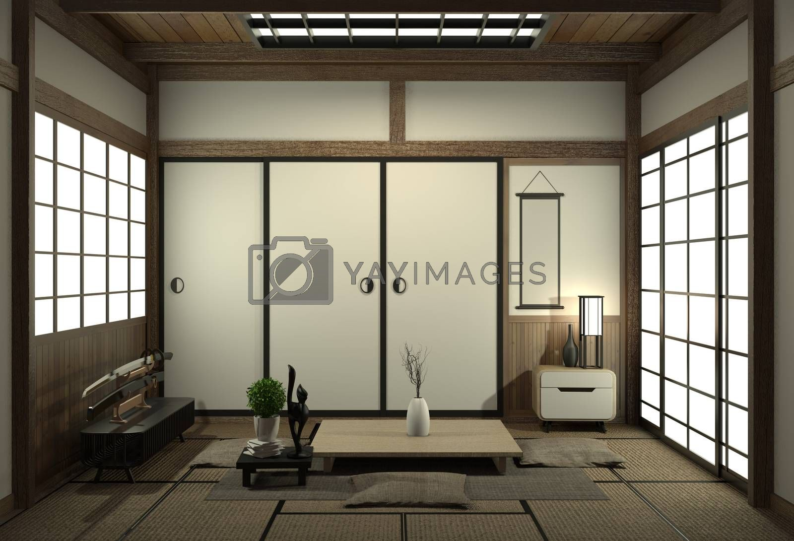 Living room interior design with cabinet in shelf wall design and decoration japan style.3D rendering