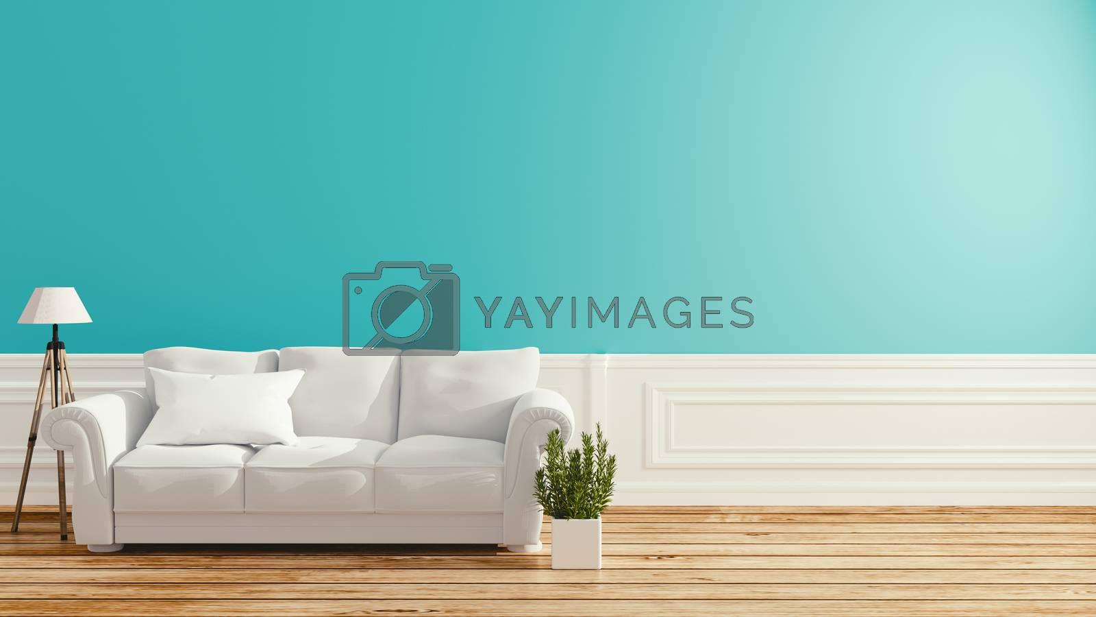 Mint room interior design .3D rendering