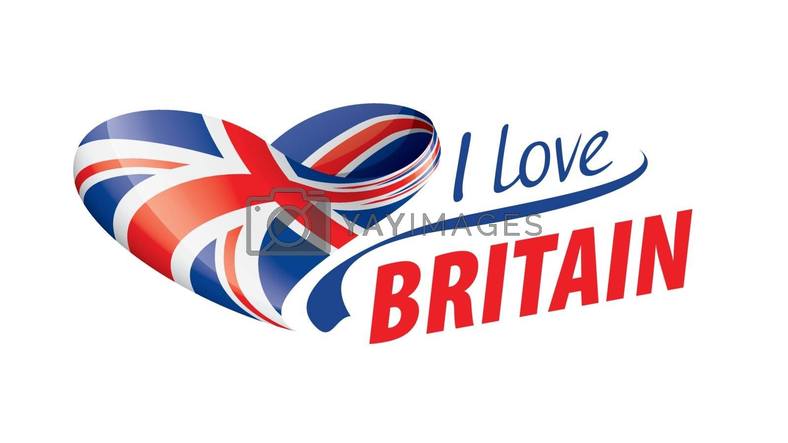 The national flag of the Britain and the inscription I love Britain. Vector illustration.