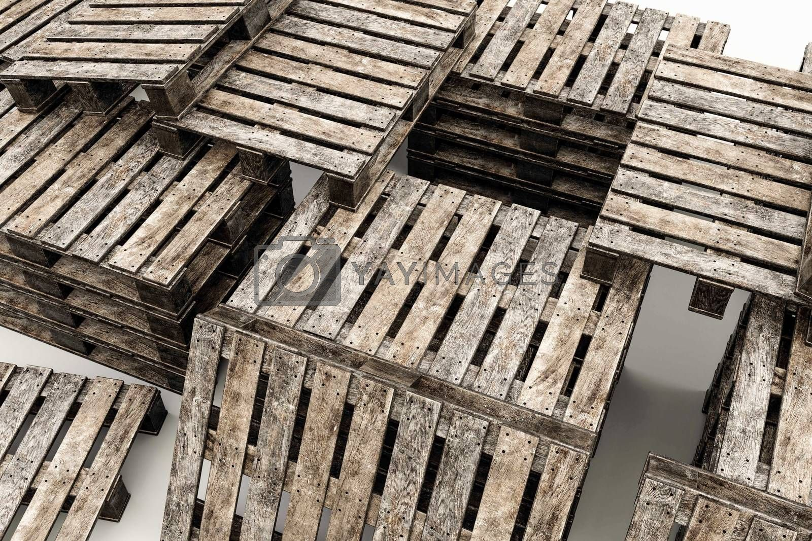 euro pallets isolated on white background 3d illustration