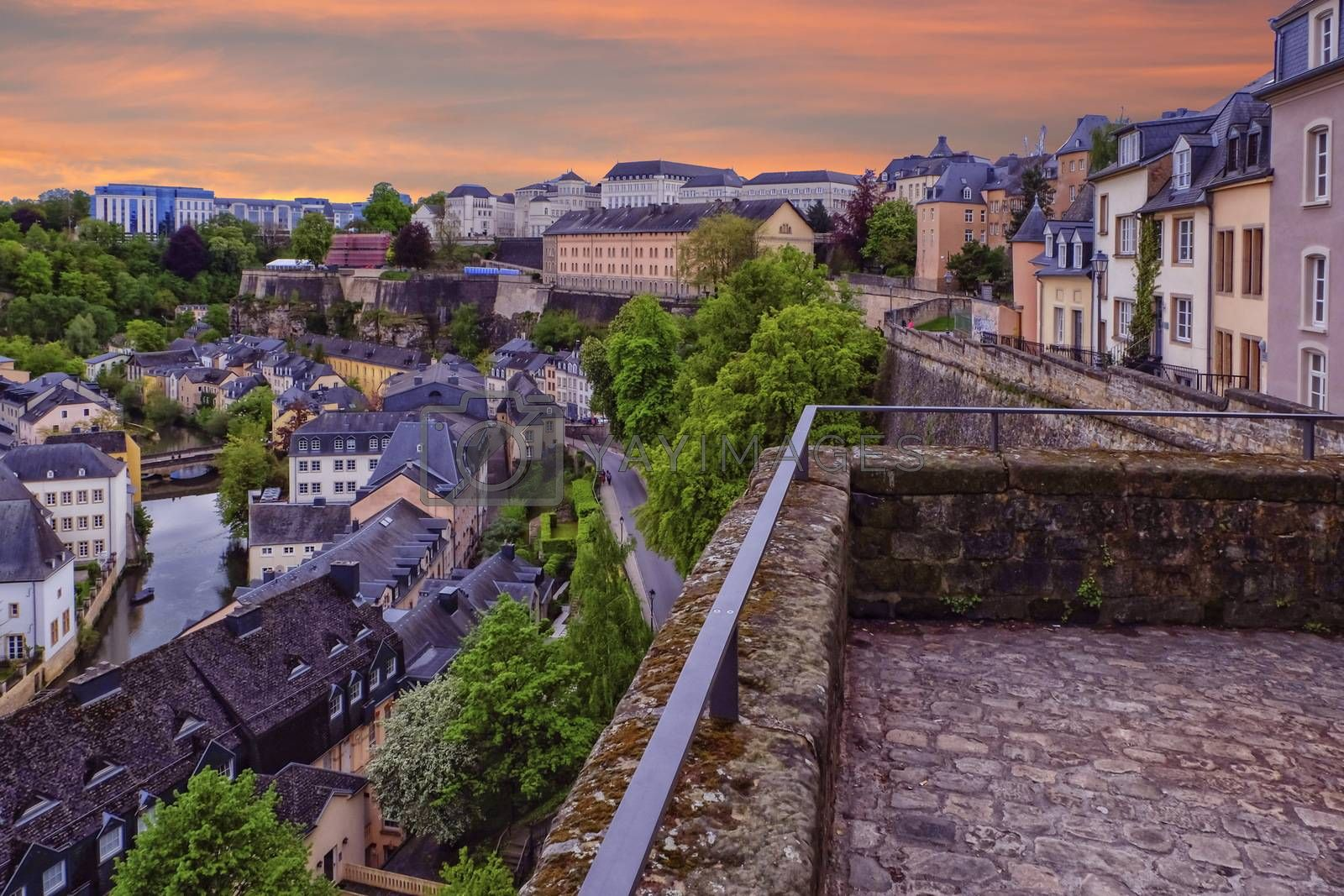 View on Old Town and Corniche in Luxembourg City from top view by sunset