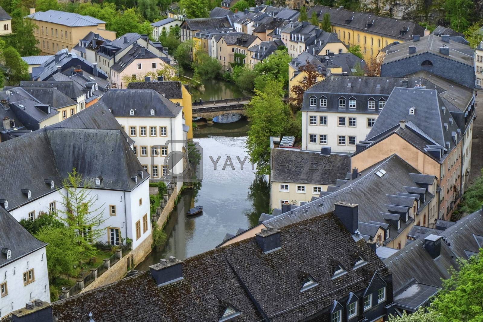 Alzette river and Old Town Luxembourg City from top view by day
