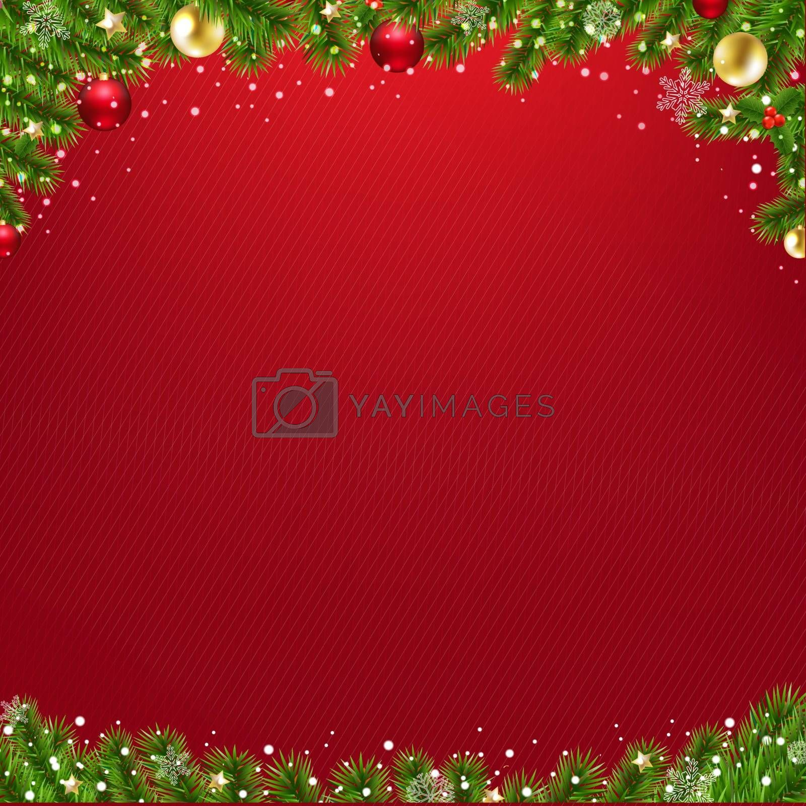 Christmas Card With Christmas Tree With Gradient Mesh, Vector Illustration