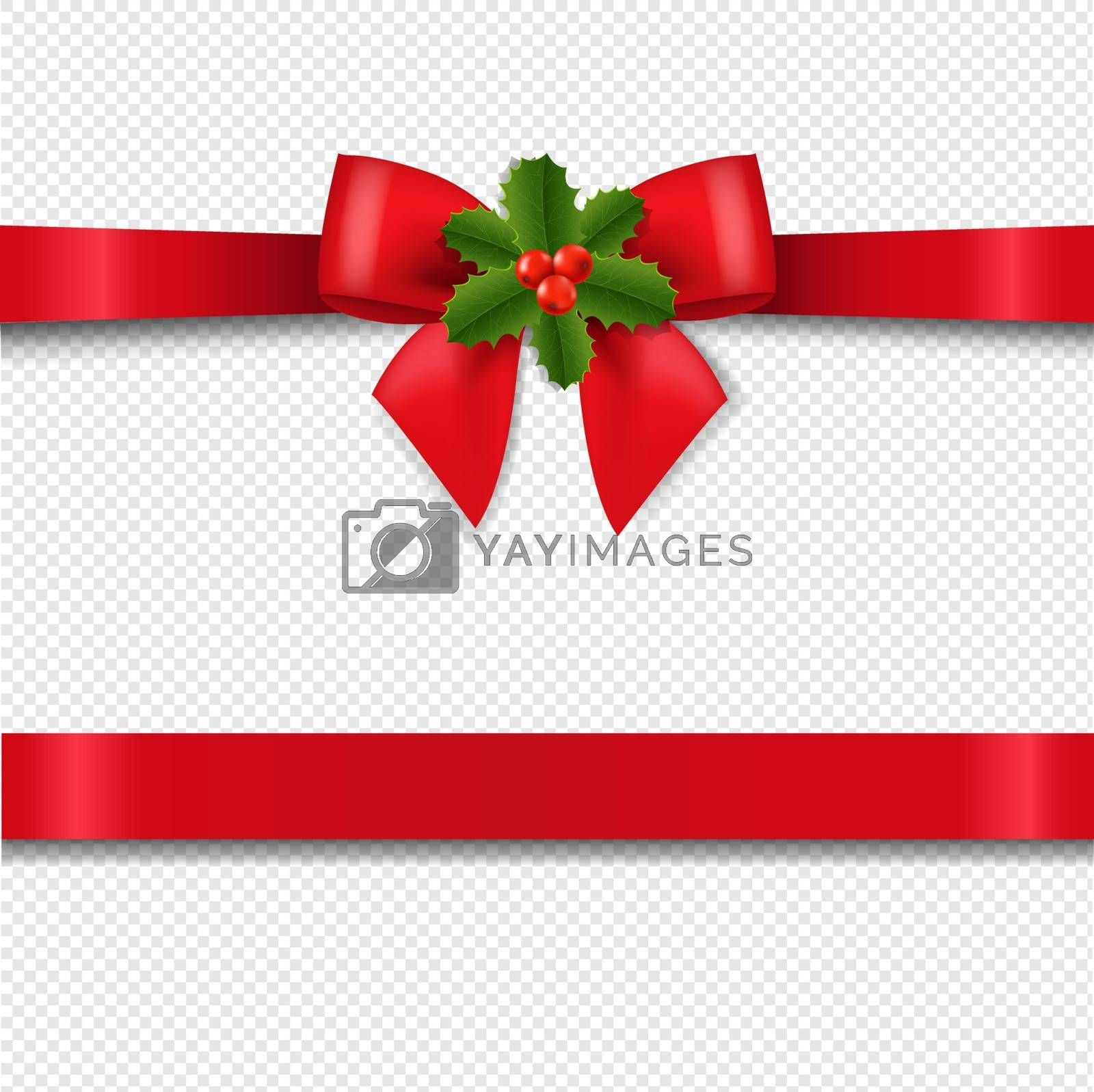 Red Bow With Holly Berry Isolated Transparent Background With Gradient Mesh, Vector Illustration