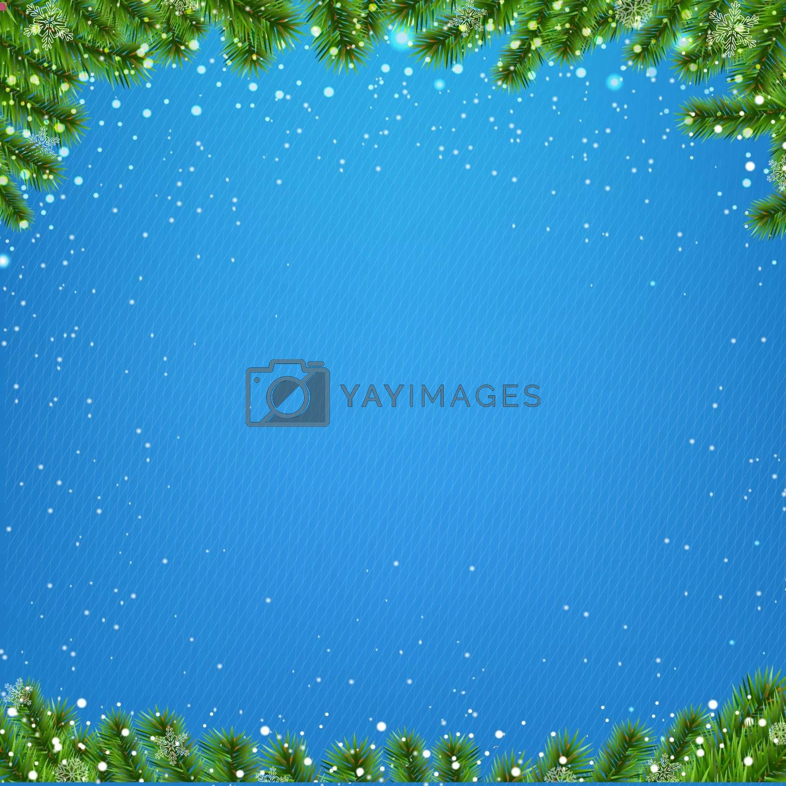 Winter Poster With Christmas Tree With Gradient Mesh, Vector Illustration