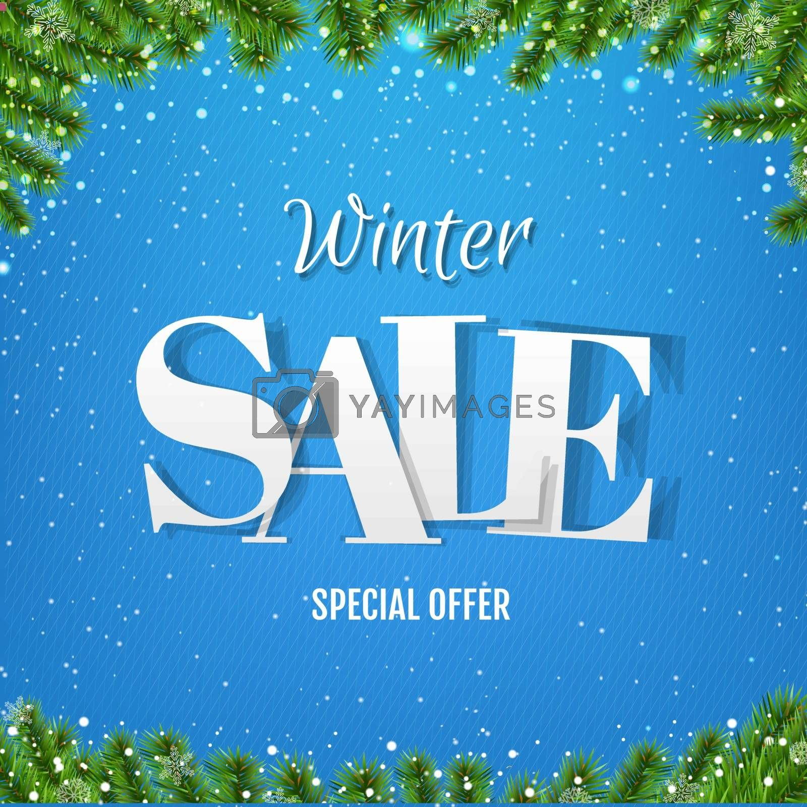 Winter Sale Poster With Christmas Tree With Gradient Mesh, Vector Illustration
