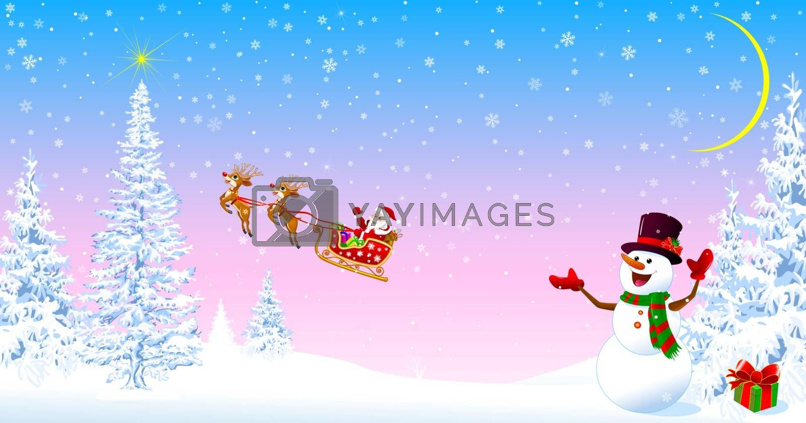 Santa on a sleigh with deers welcomes. Snowman in a hat welcomes. Christmas tree. Star in the sky. Snowy forest. Santa and snowman on the background of fir trees and snowflakes.