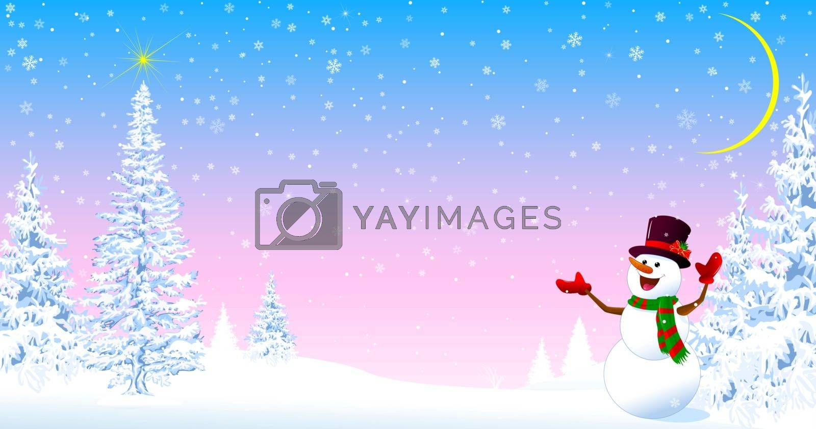 Snowman in a hat welcomes. Christmas tree. Star in the sky. Snowy forest. Snowman on the background of fir trees and snowflakes.
