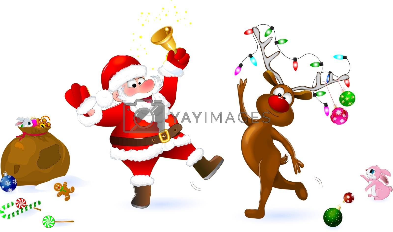 Joyful Santa and deer on a white background. Santa rings the bell. Deer is decorated with Christmas balls and a garland.