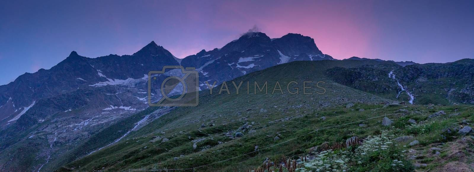 Romantic evening in mountains show summits landscape
