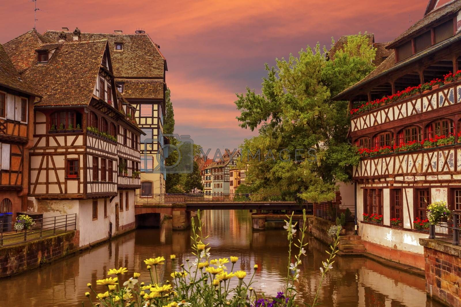 Traditional Alsatian half-timbered houses in Petite France, Strasbourg, France