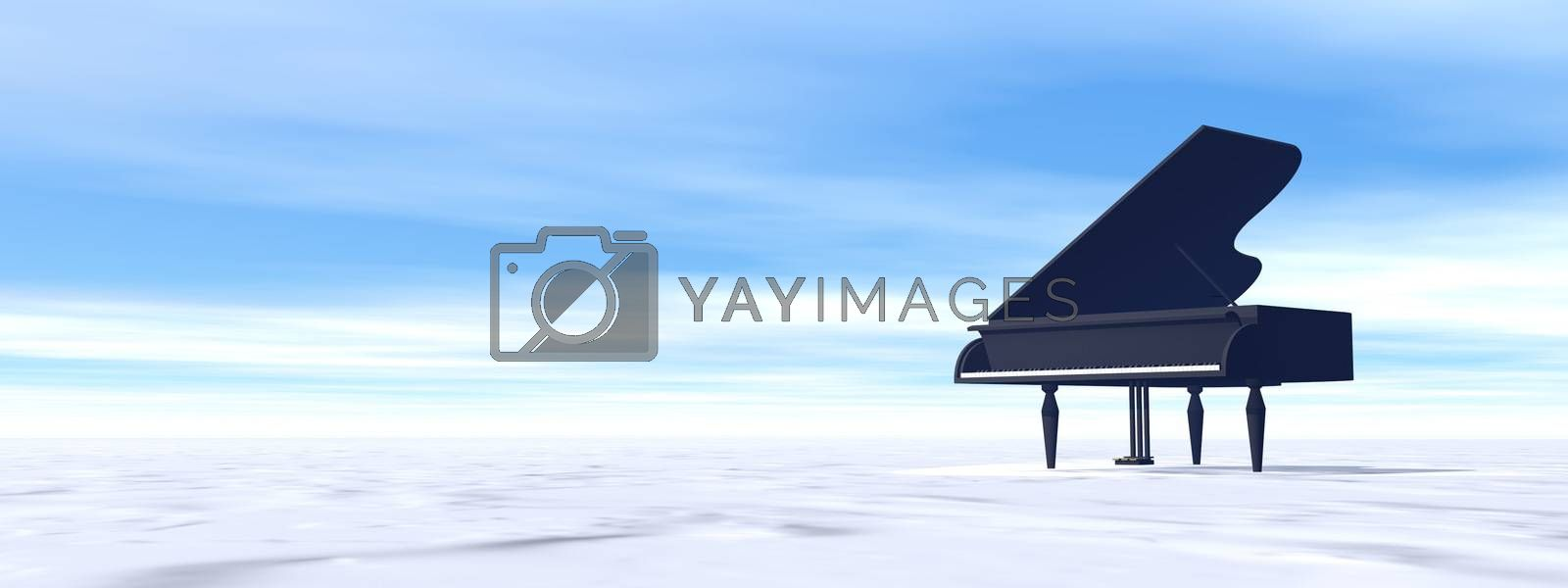 Classical black grand piano in snowy nature by day - 3D render