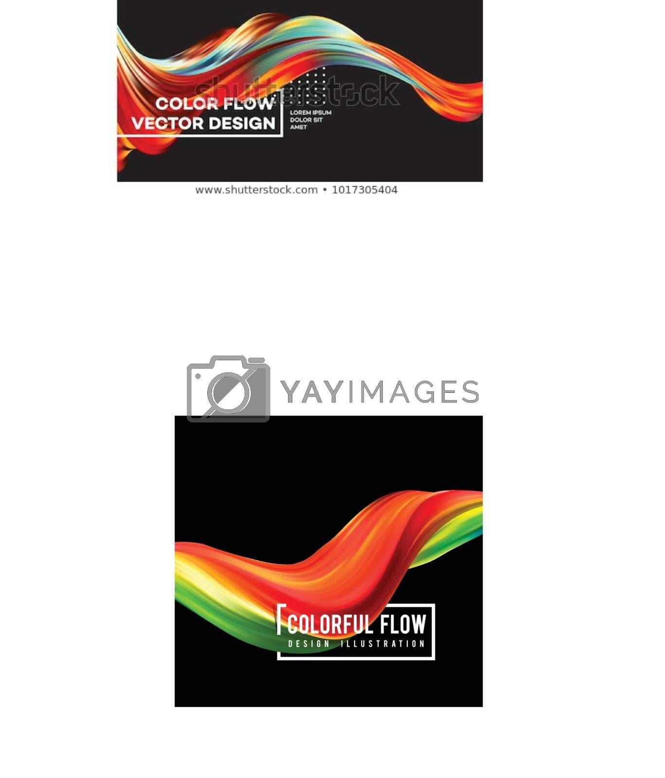 Royalty free image of Colorful flow design. Trending wave liquid vector illustration on white by sermax55