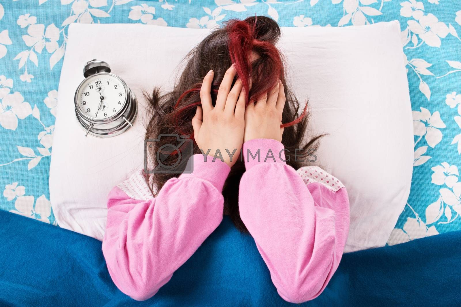 Young girl annoyed by the alarm clock by Mendelex