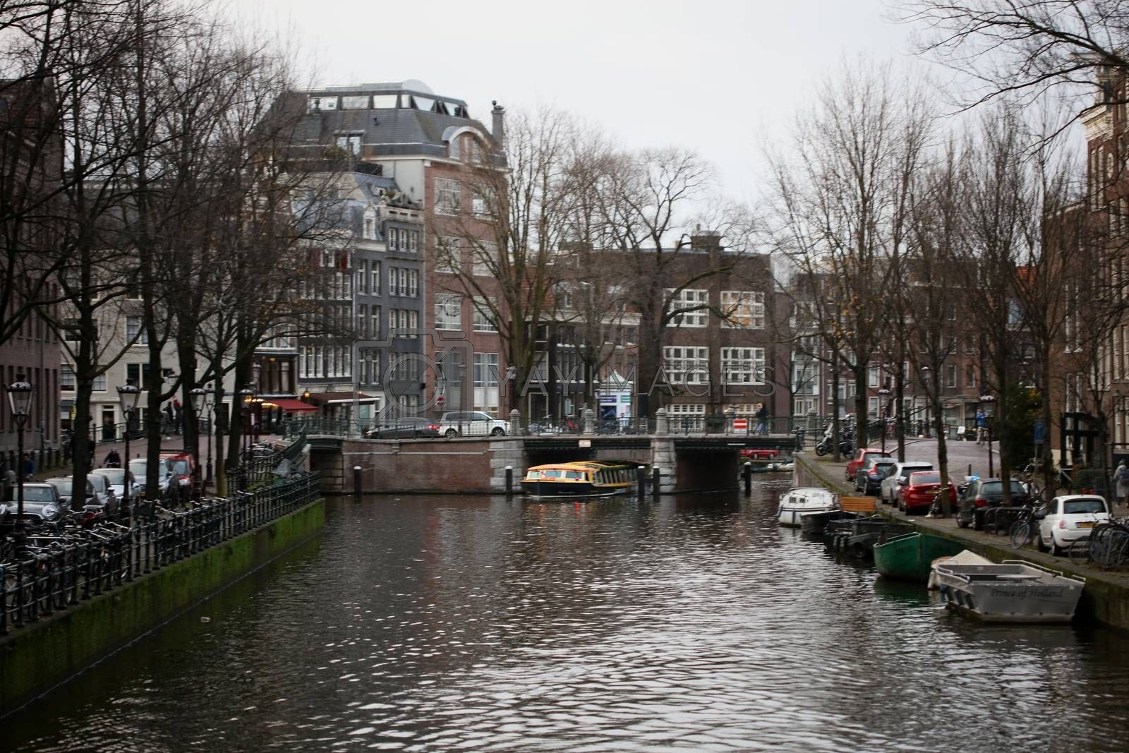 Amsterdam, Holland, Monday 2 December 2019 canal view background high quality