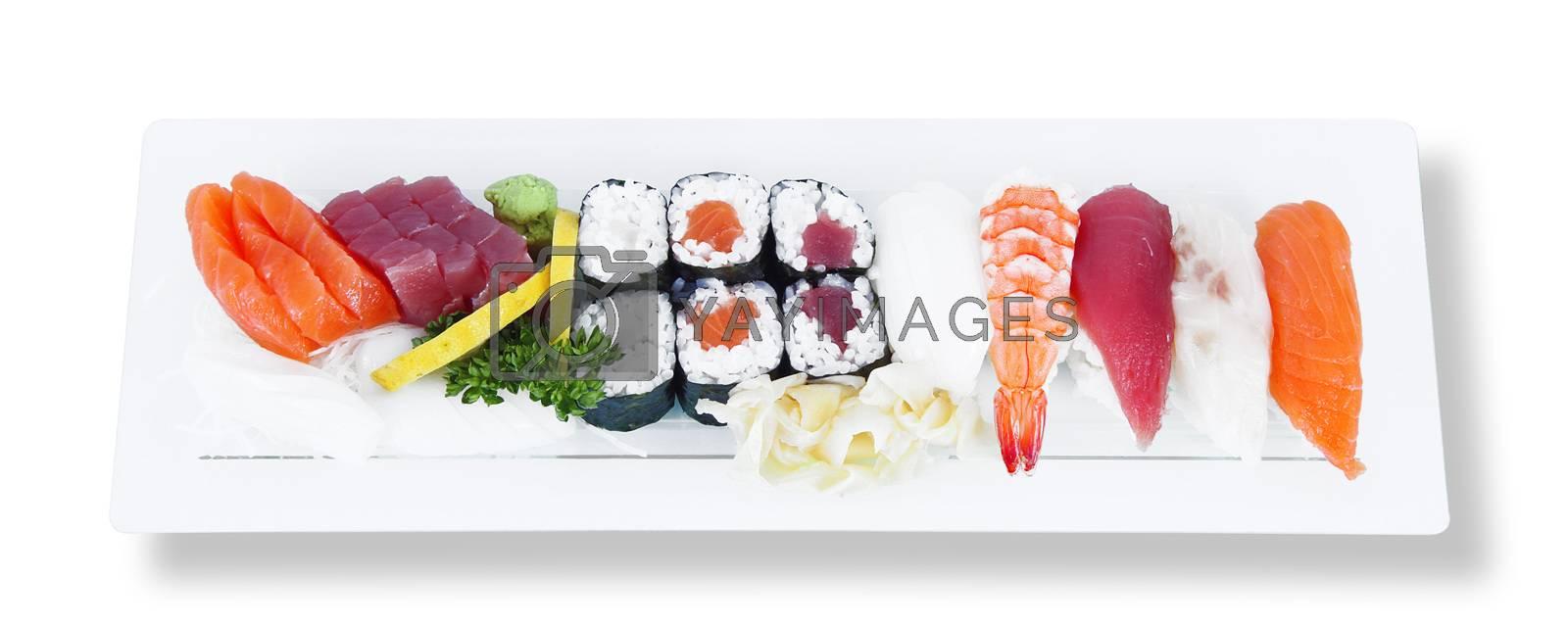 isolated japanese sushi on white background