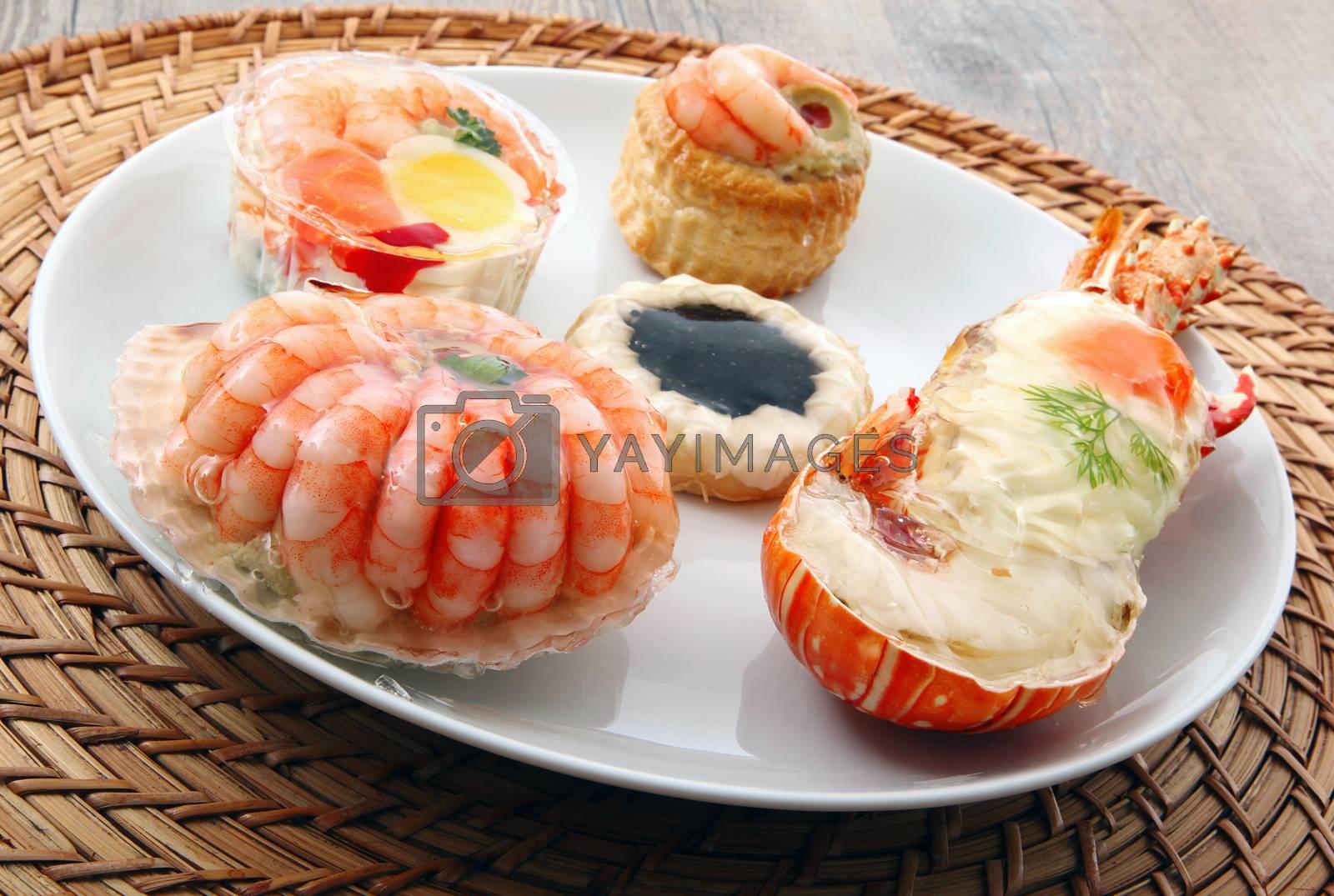 a delicious fresh specialties of shellfish