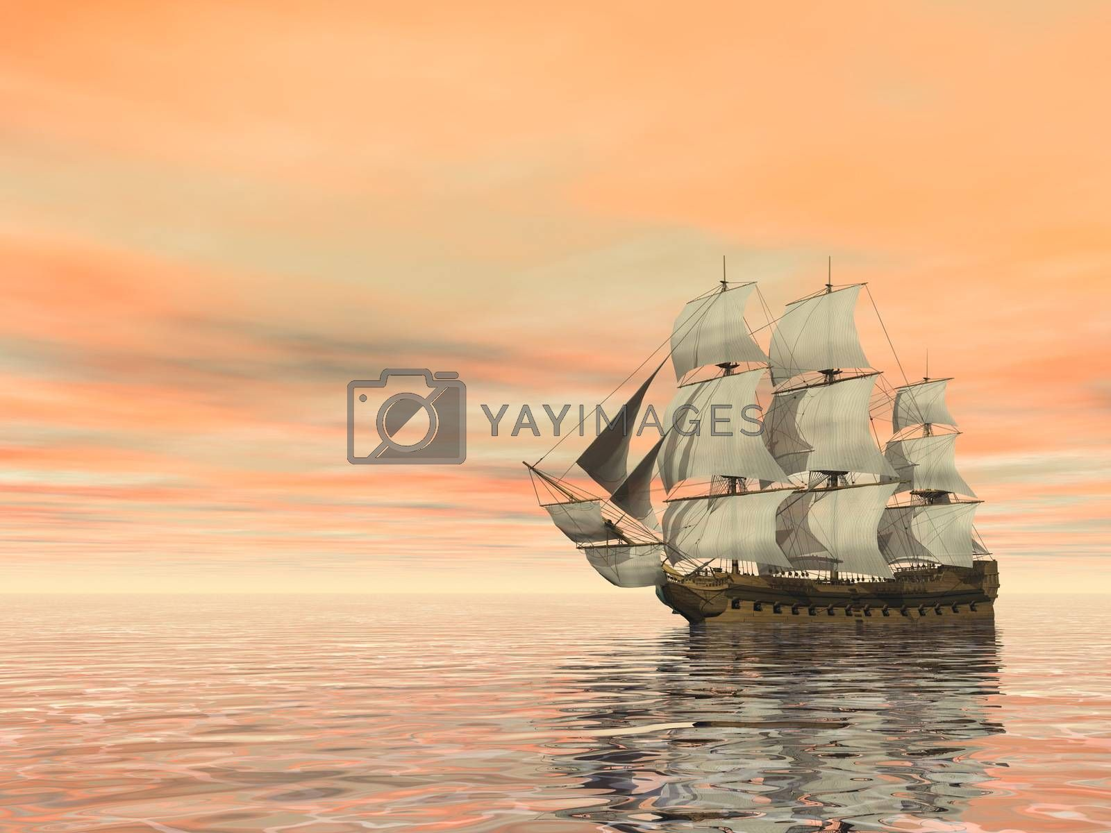 Beautiful old merchant ship floating on quiet water by sunset - 3D render