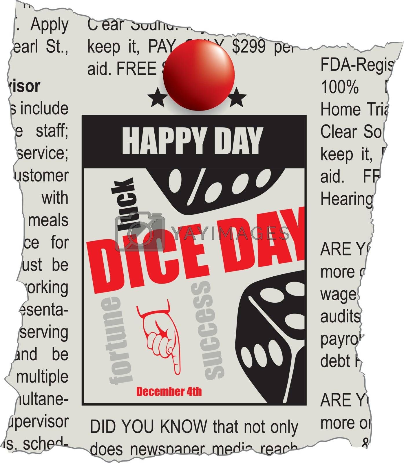 A newspaper ad is the lucky day for the December Dice Day event.