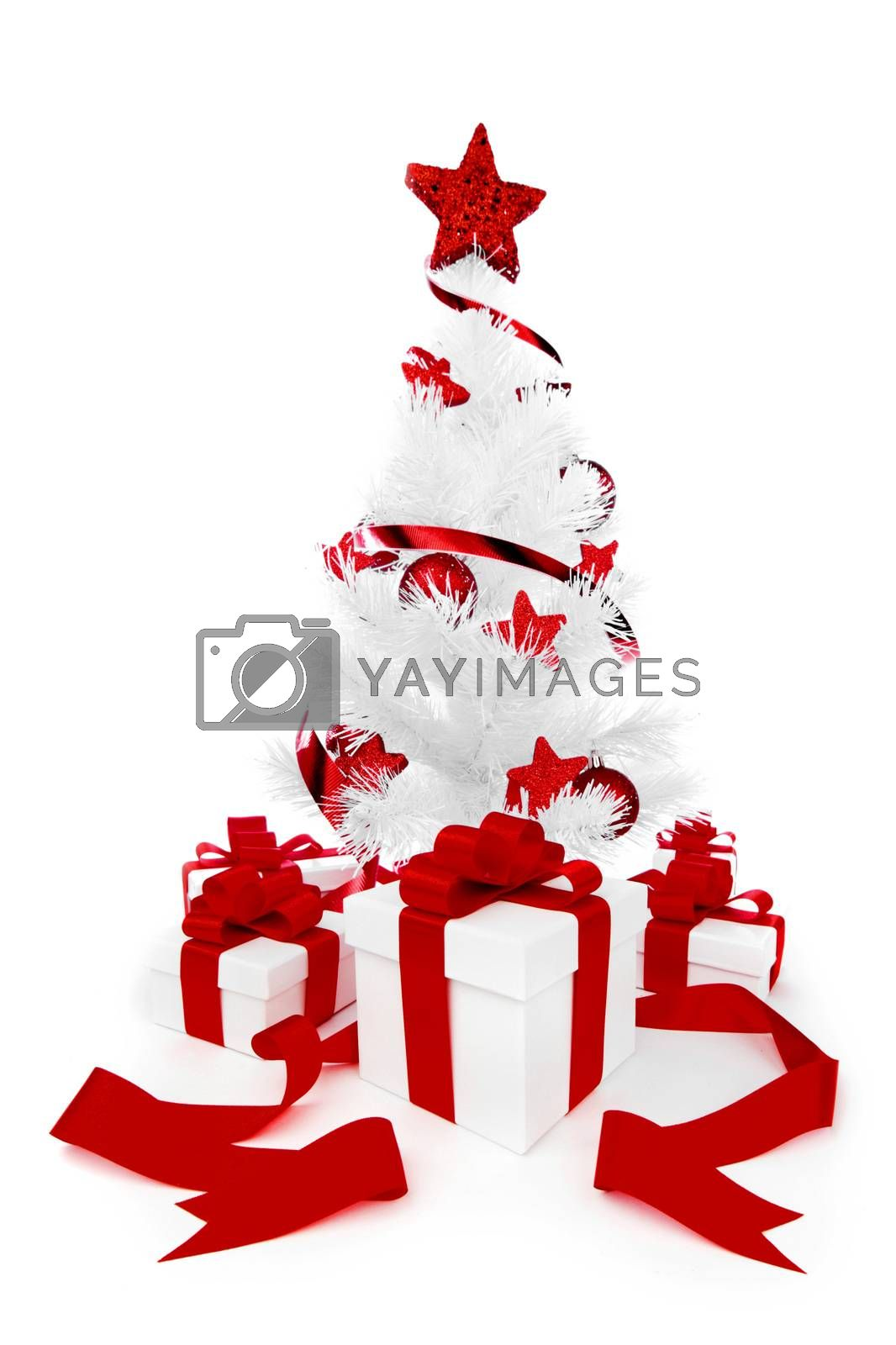 White christmas tree with red decorations and presents isolated on white background