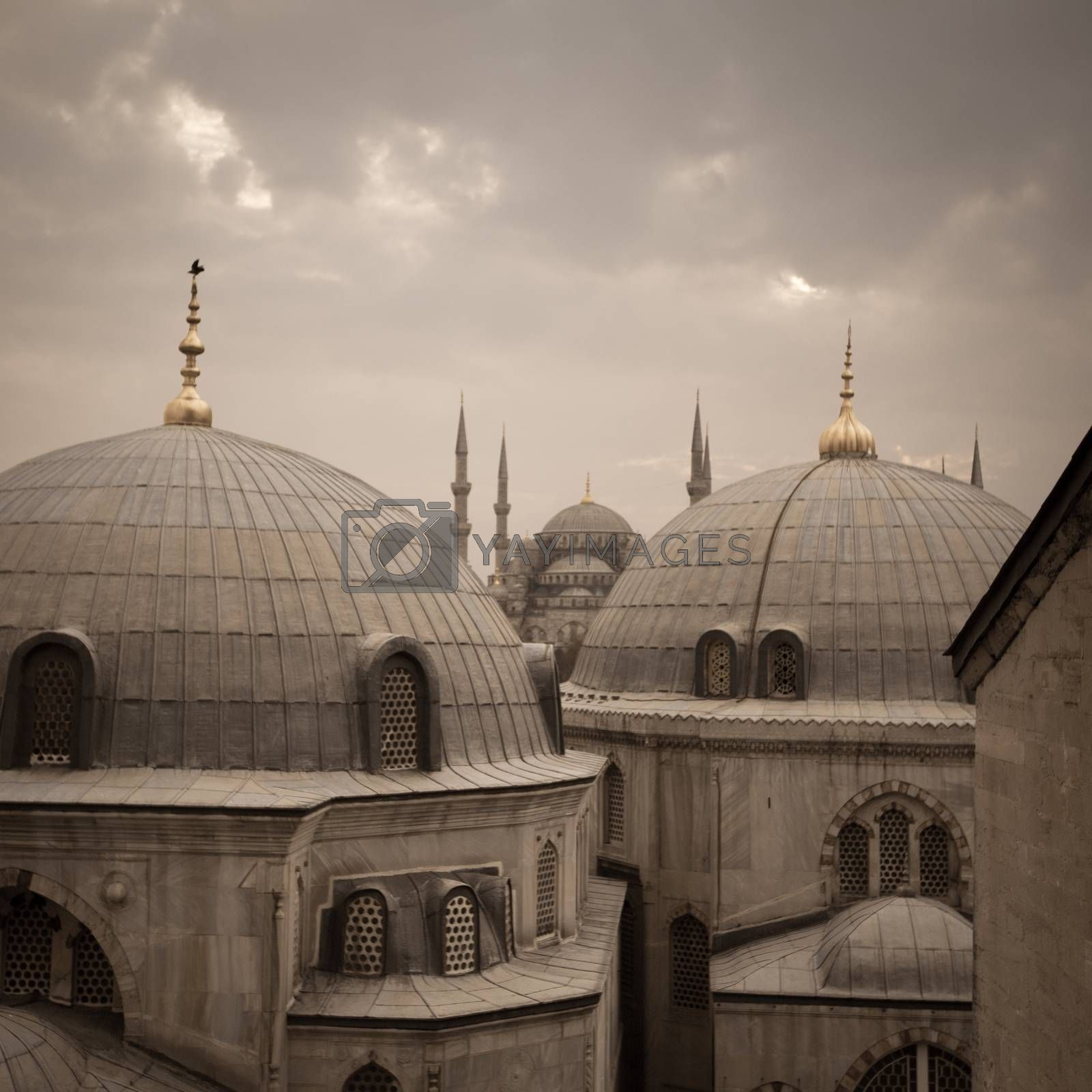 A view over Blue Mosque view from the upper flour of Hagia Sophia