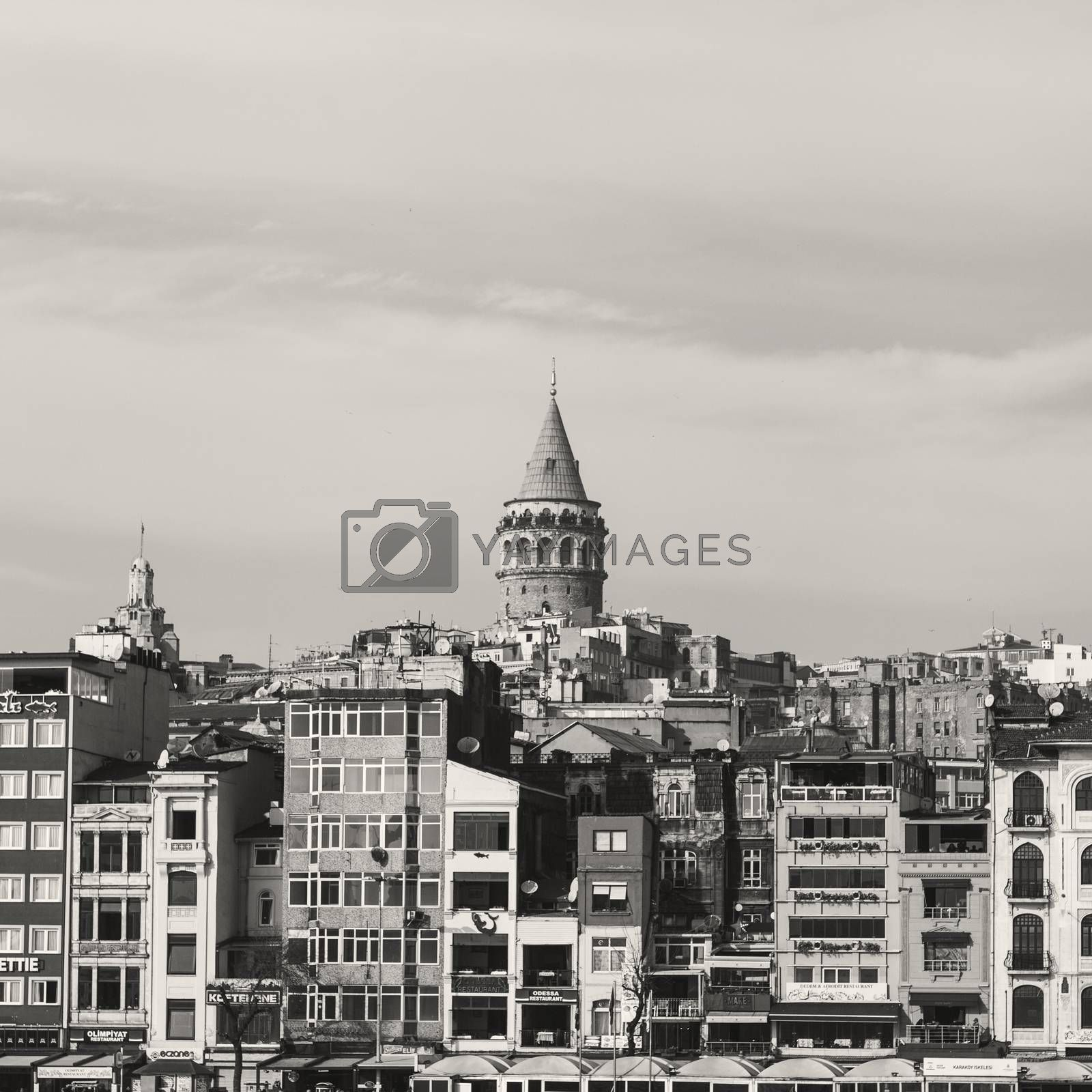 Galata tower from Bosphorus Istanbul skyline with blue sky