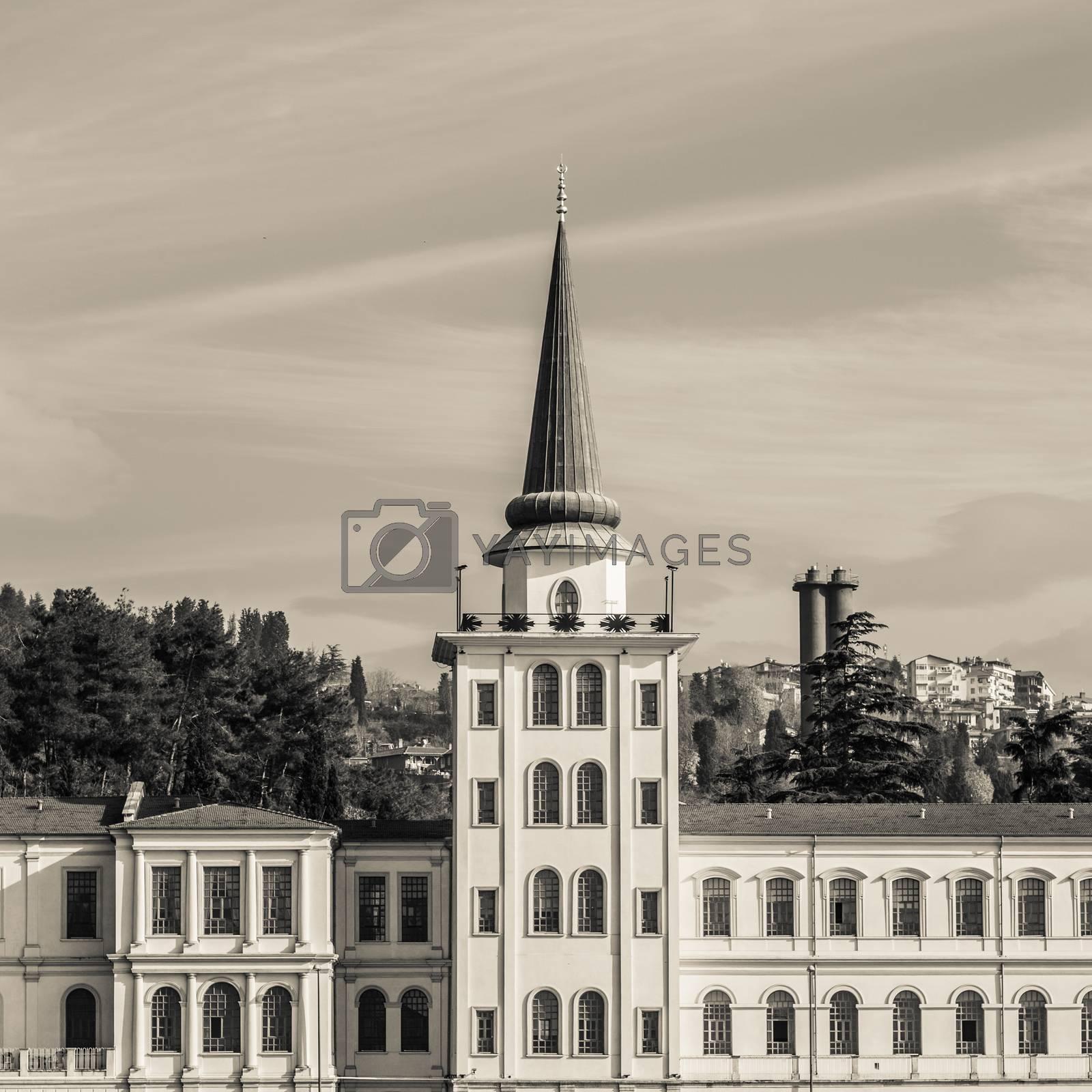 Kuleli military high school from Bosphorus, Istanbul, Turkey.