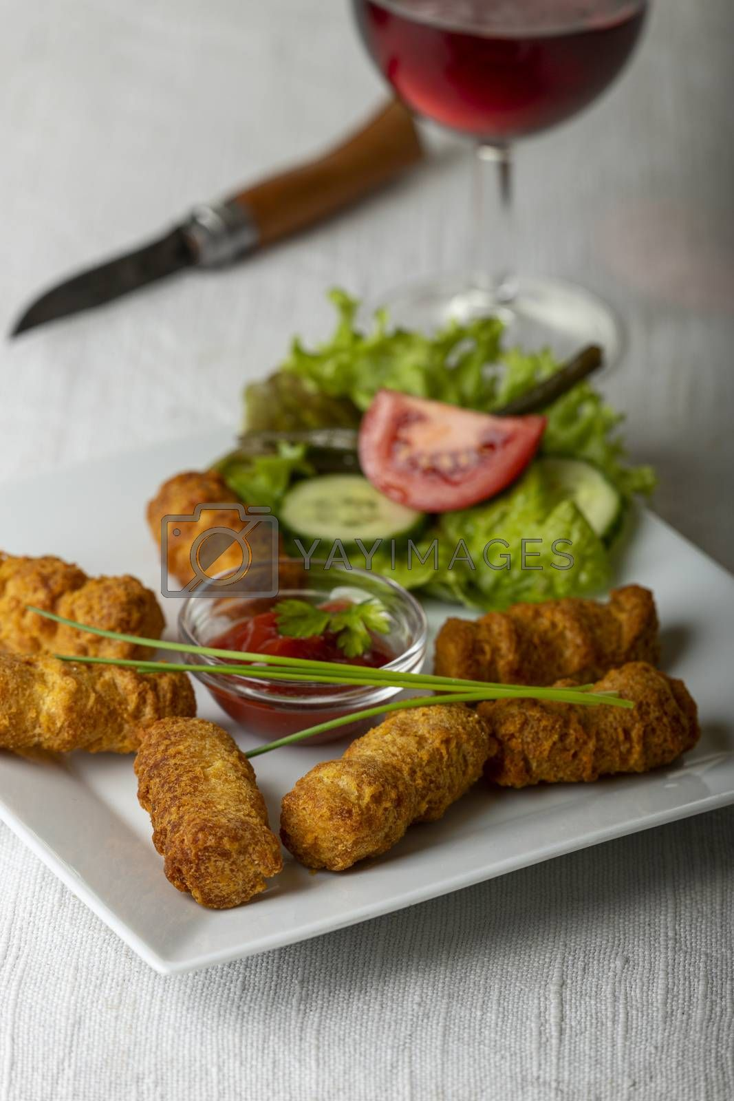 closeup of croquettes on a plate