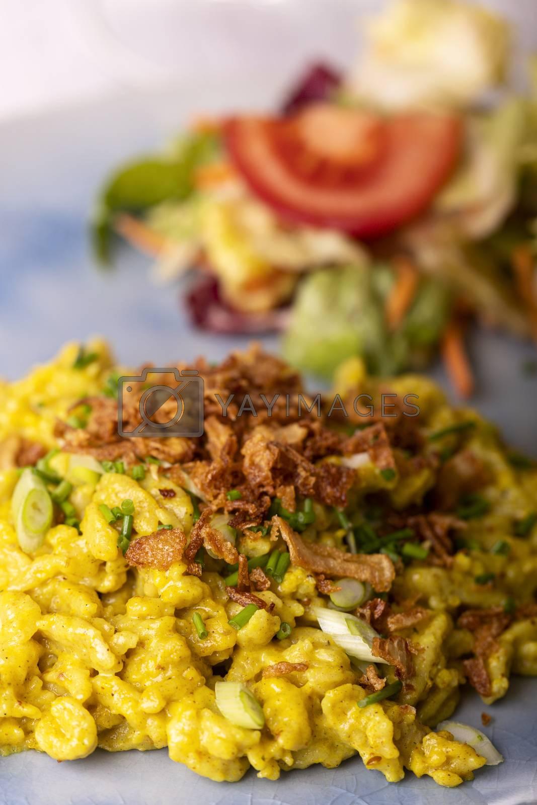 closeup of bavarian spaetzle pasta  by bernjuer