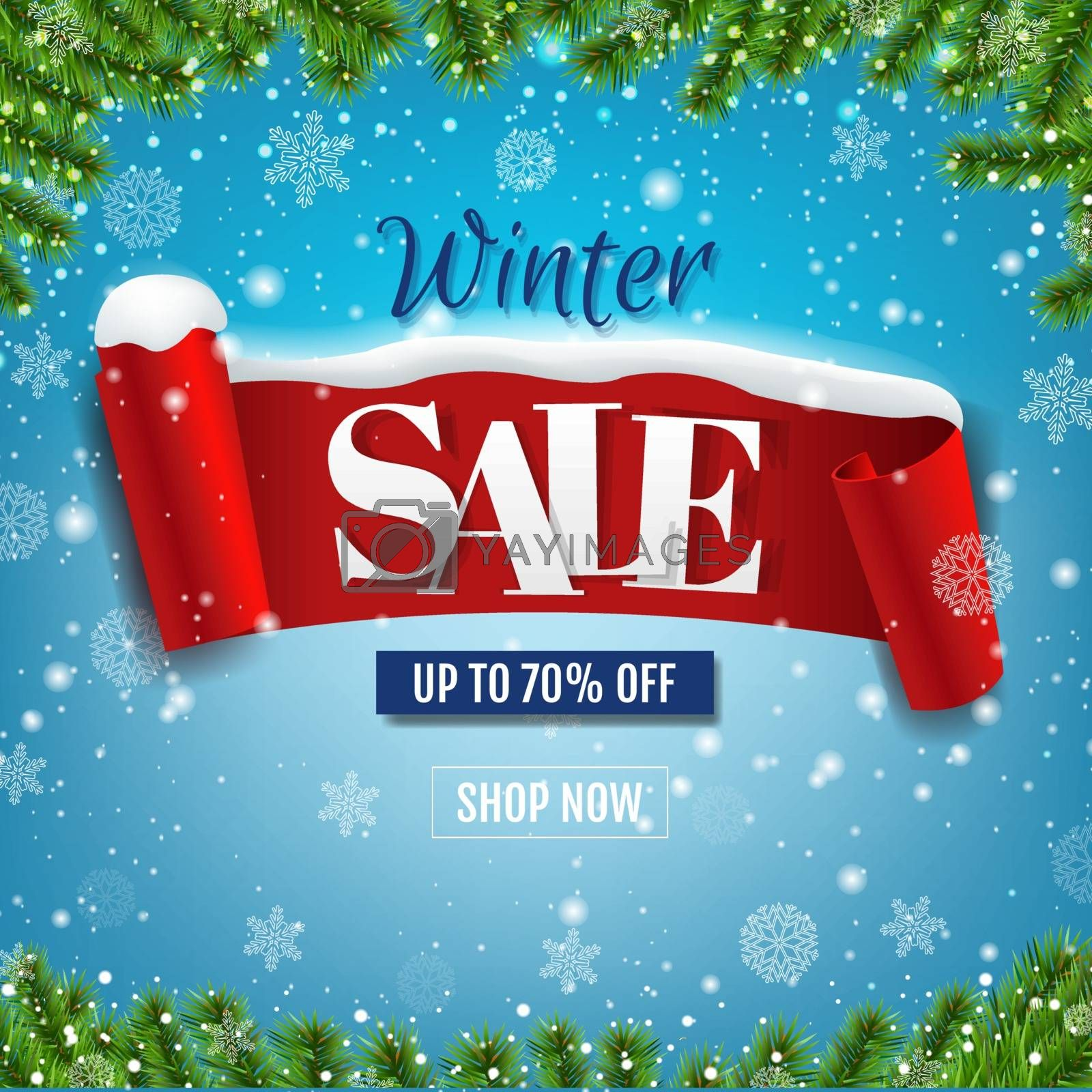 Winter Sale Poster With Red Ribbon With Snow Isolated Blue Background With Gradient Mesh, Vector Illustration