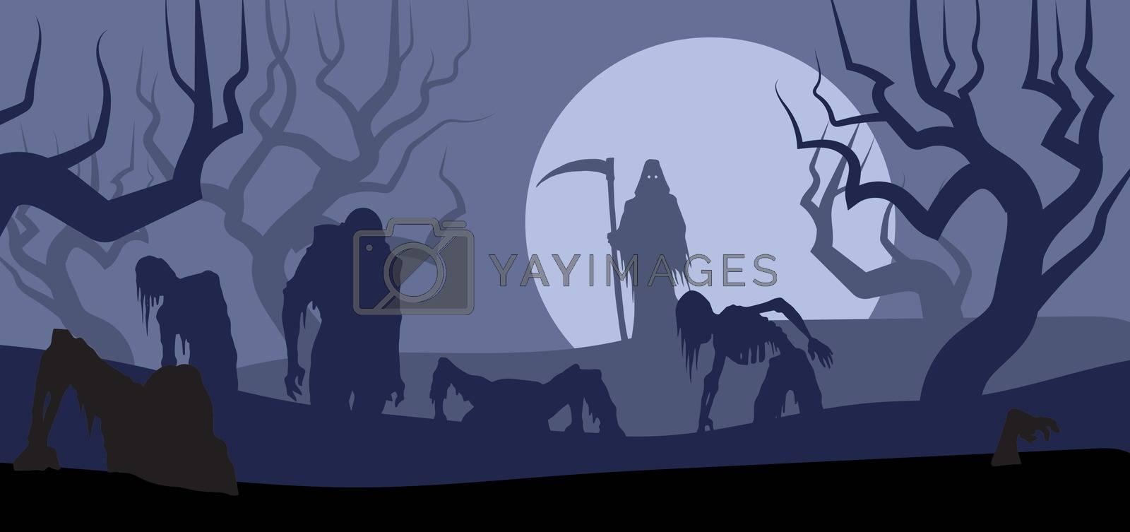 Grim reaper rises zombies for halloween