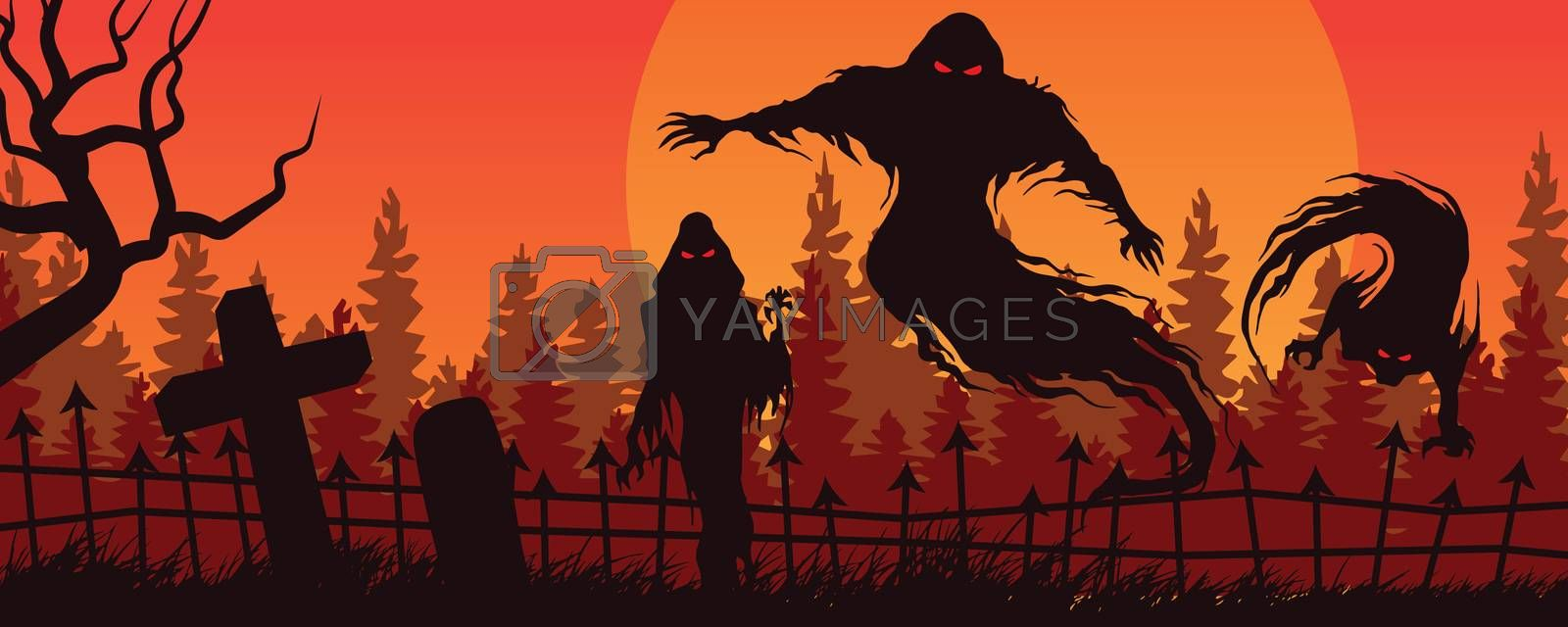 Halloween red orange landscape with ghostly figure and cemetery
