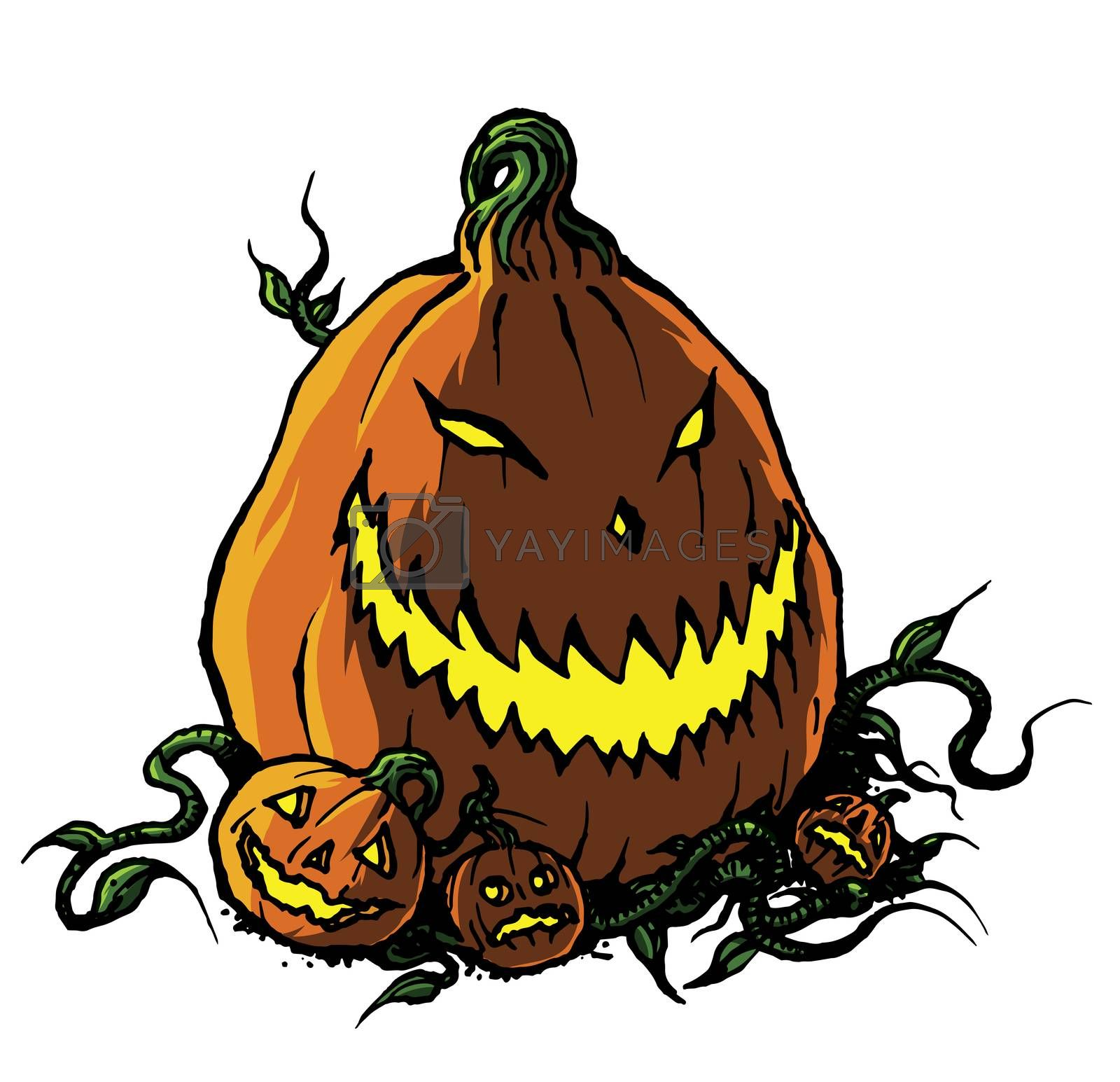 Scary Halloween Jack-o-Lantern Pumpkin in b&w line drawing illustration