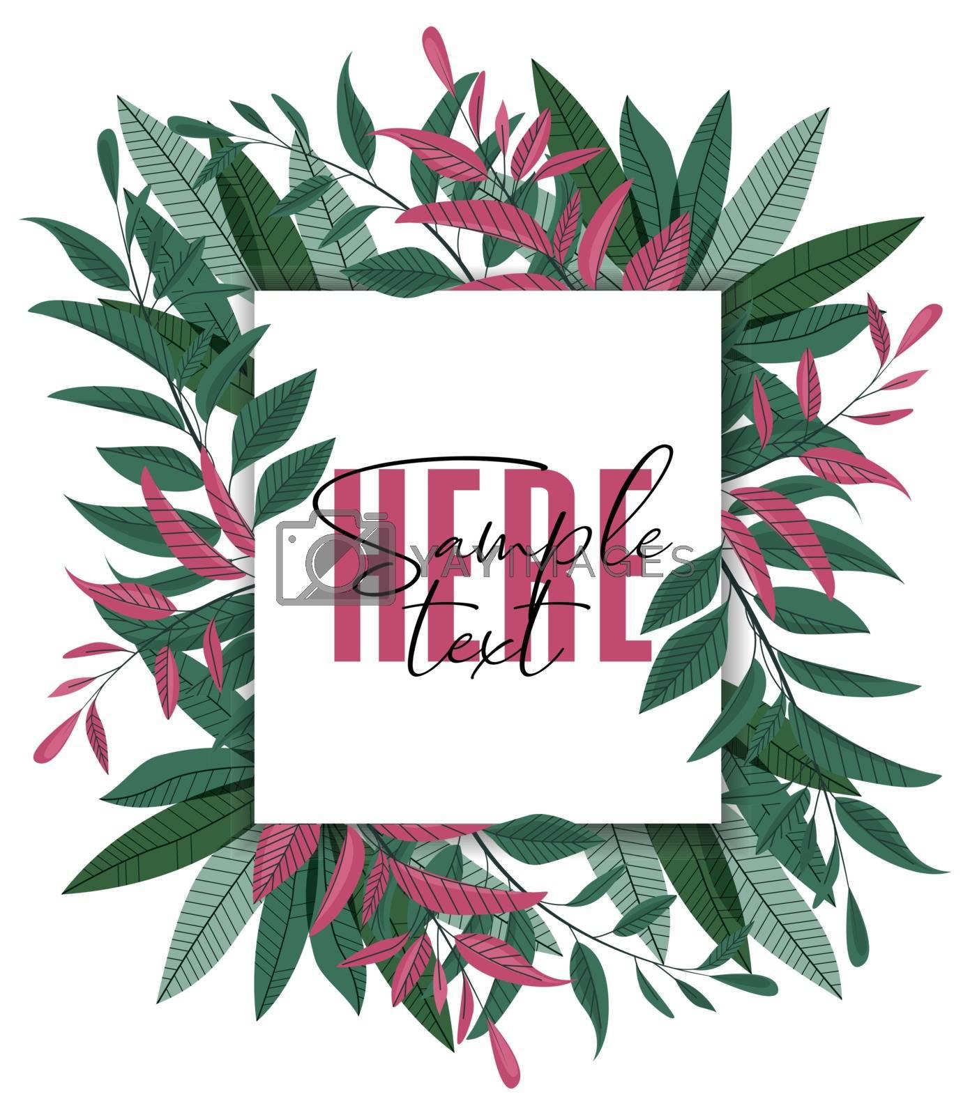 Vector illustration floral greenery card design. Forest leaves. Wedding invite poster invitation. Green leaves border