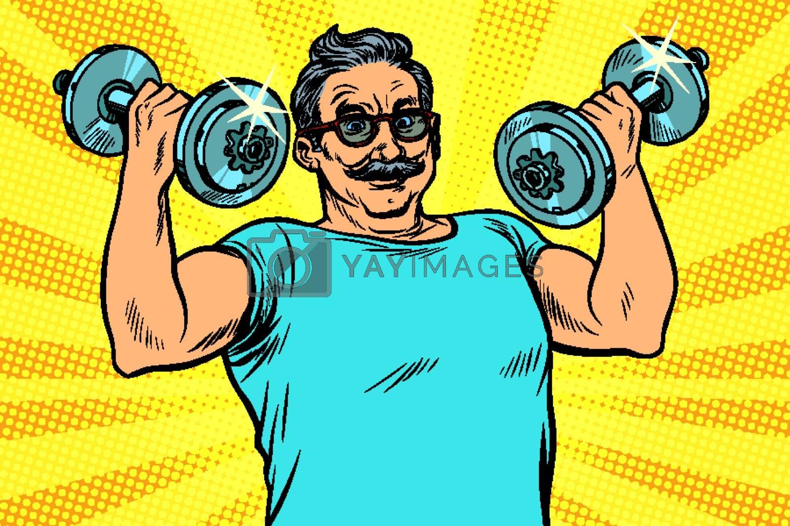 elderly man lifts dumbbells, fitness sport. Pop art retro vector illustration drawing vintage kitsch