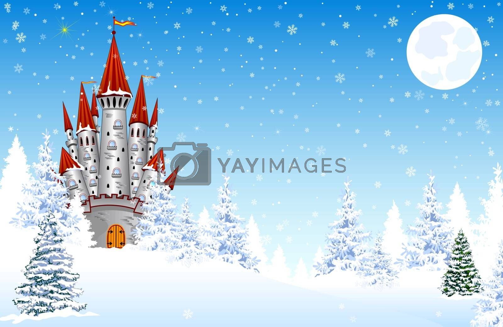 Castle on a background of a winter snowy forest. Snow, snowflakes. The night, the moon. Winter landscape.