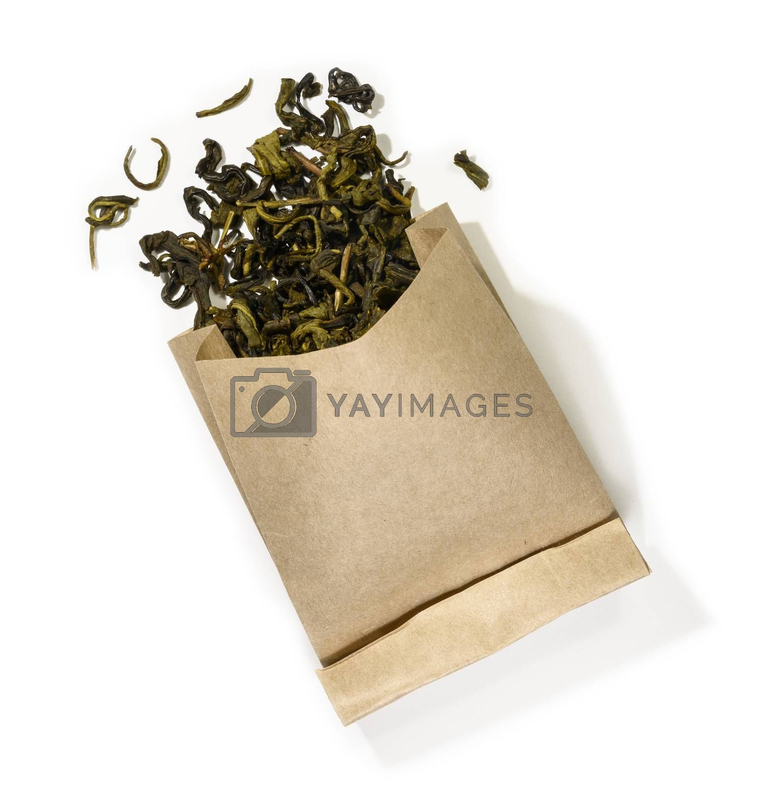 Green tea top view on white background by butenkow