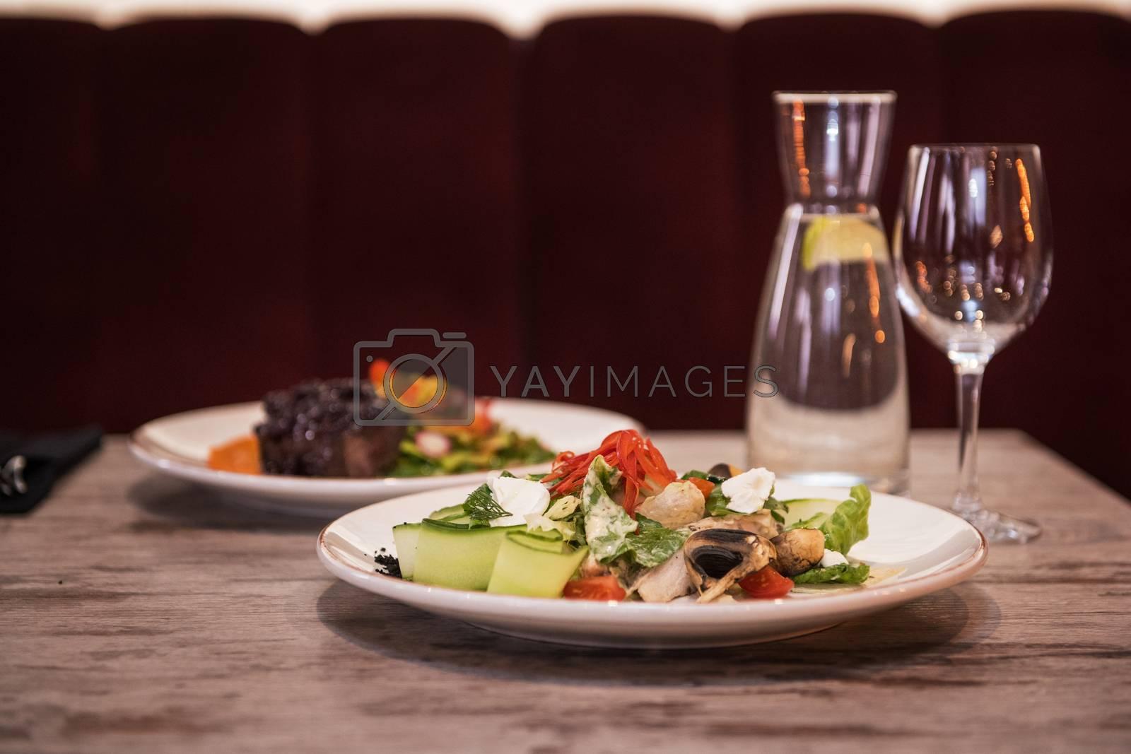 Mushroom garden vegetable salad on the restaurant table