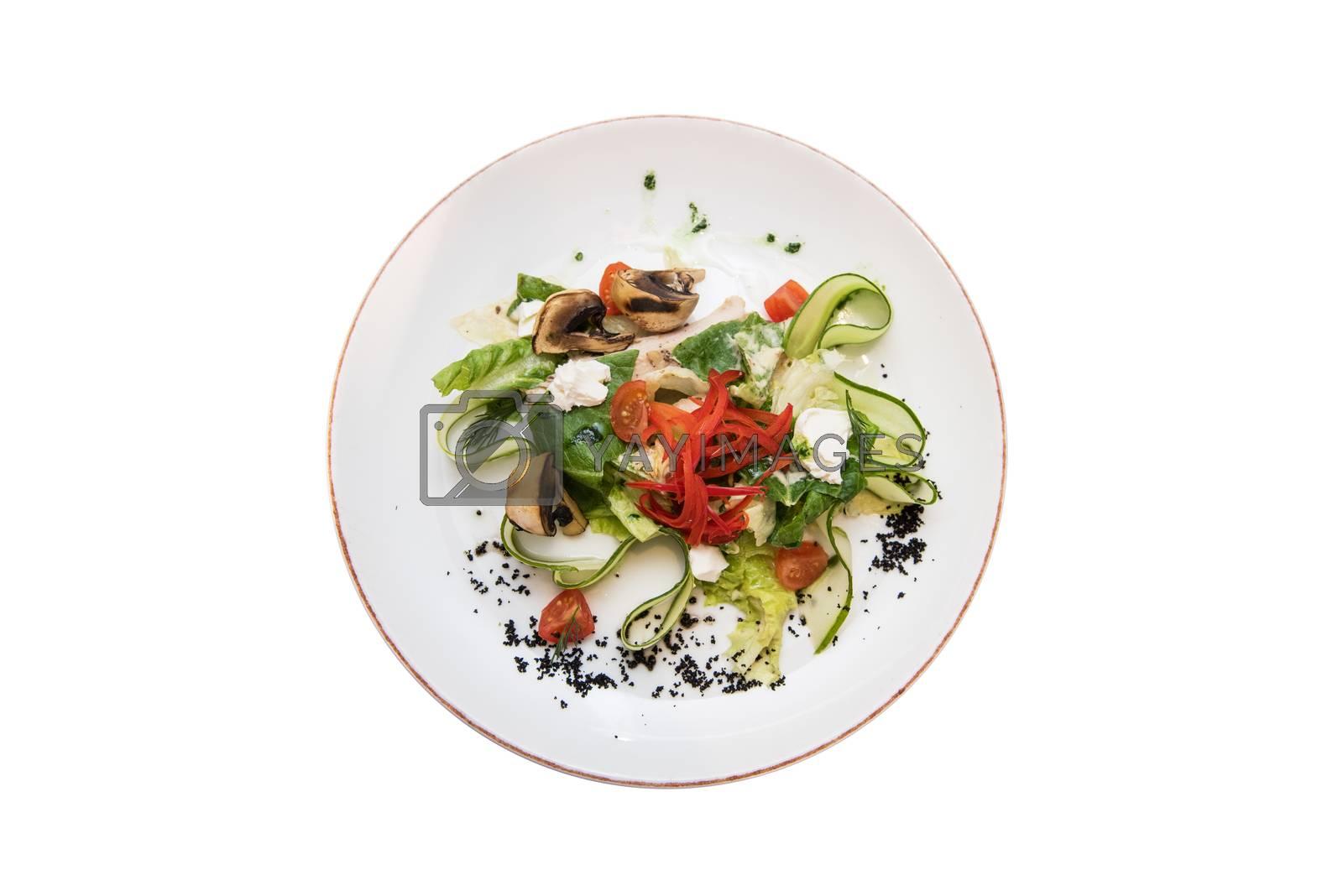 Mushroom garden vegetable salad isolated on white