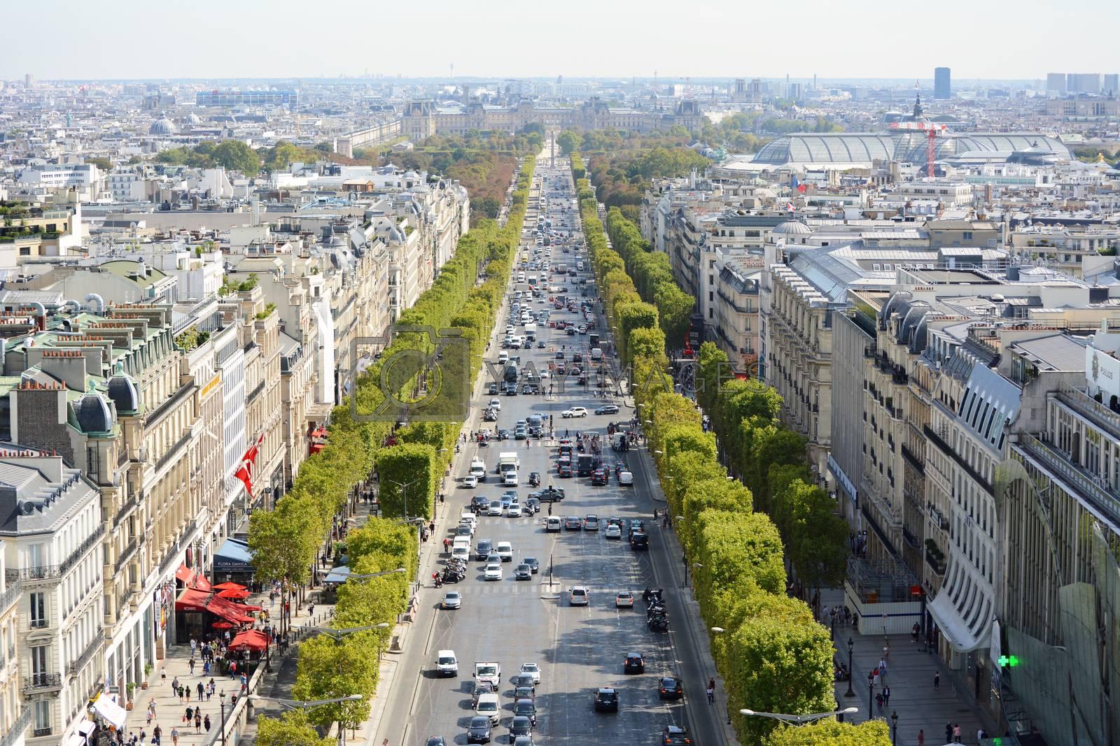 View from the Arc de Triomphe in Paris, down the Avenue des Champs-Elysees, towards the Louvre