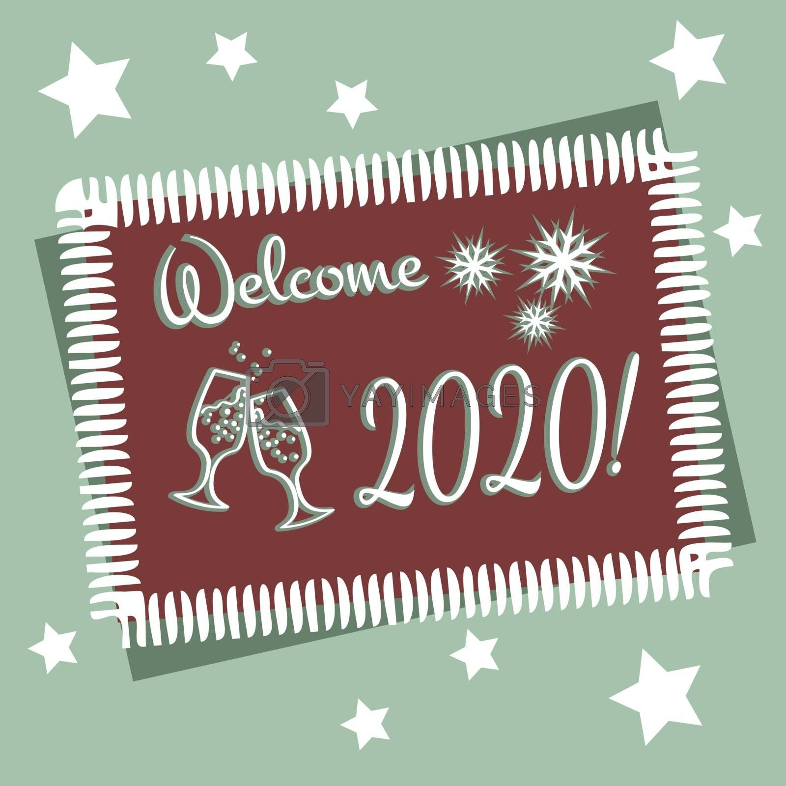 New year greeting card in muted colors. text 'welcome 2020'