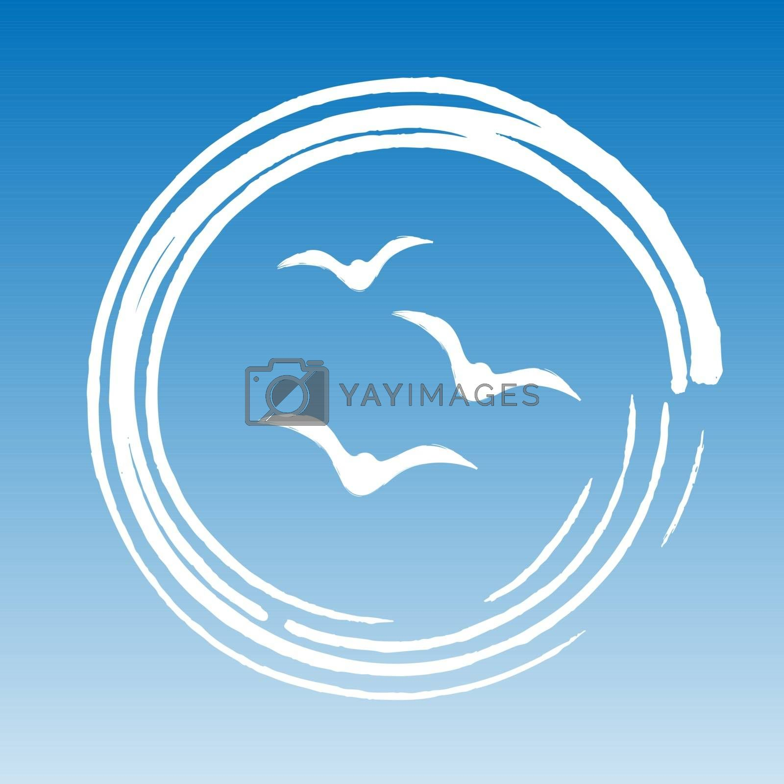 Three white birds seagulls or doves in white water circle on sky background