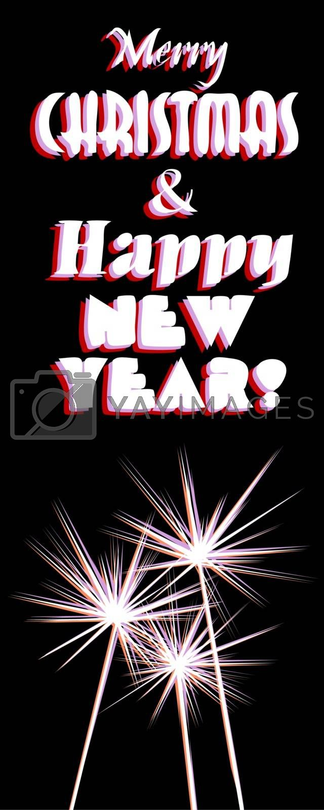 Vertical greeting card with text 'Merry Chritmas Happy New Year' with sparklers