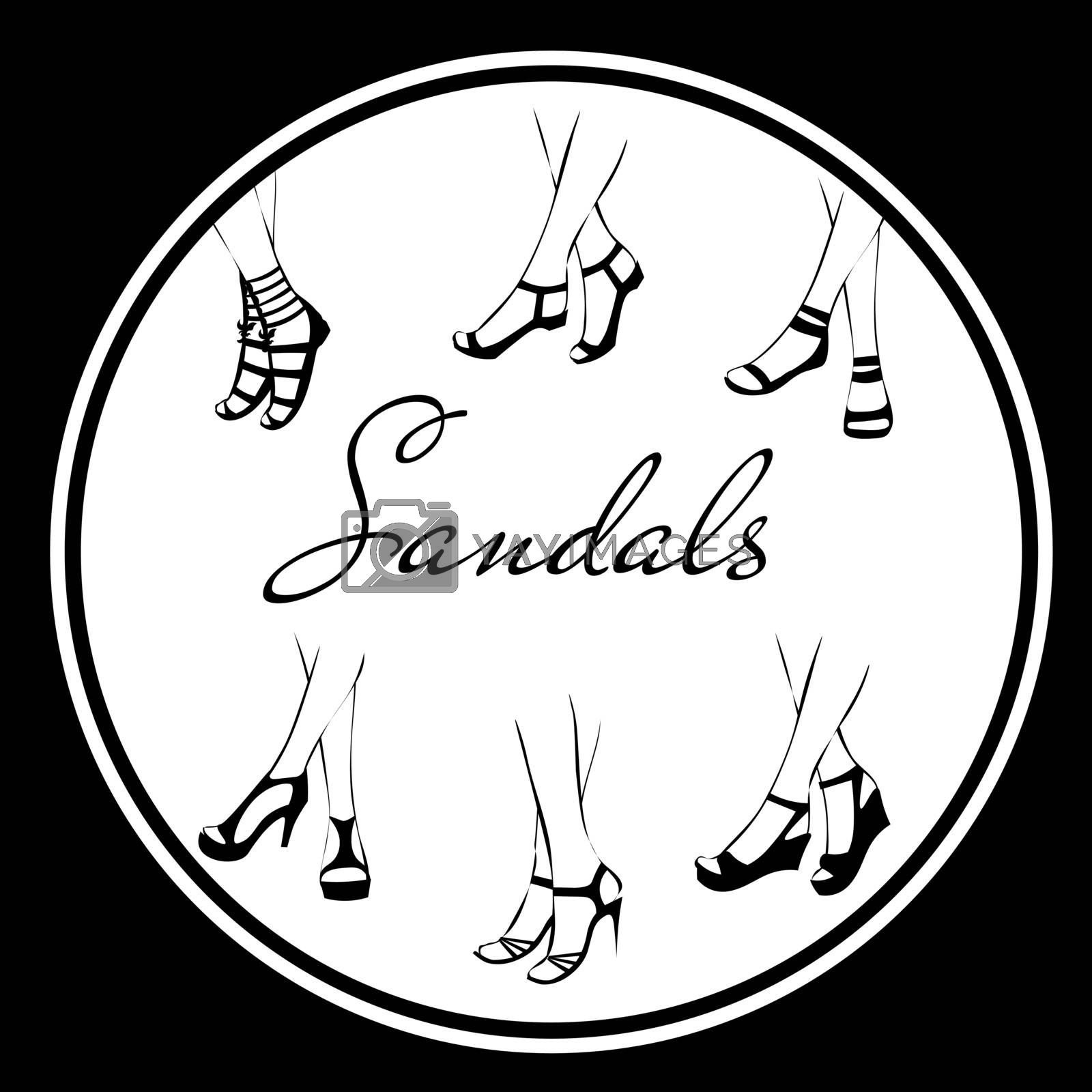 Six pairs of feminine sandals and shoes in black and white colors