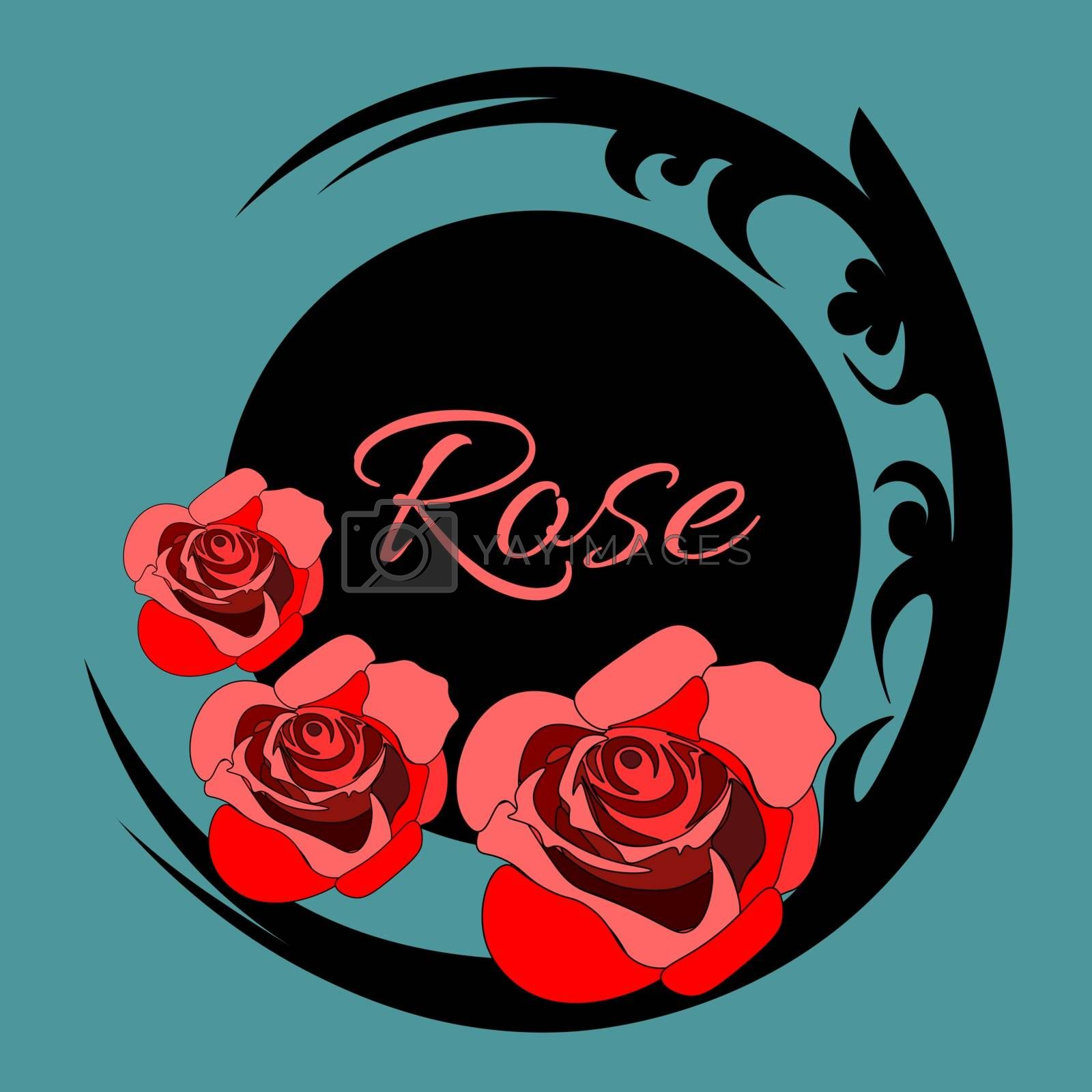 Three red roses by black ornate pattern, blue background, text `rose`