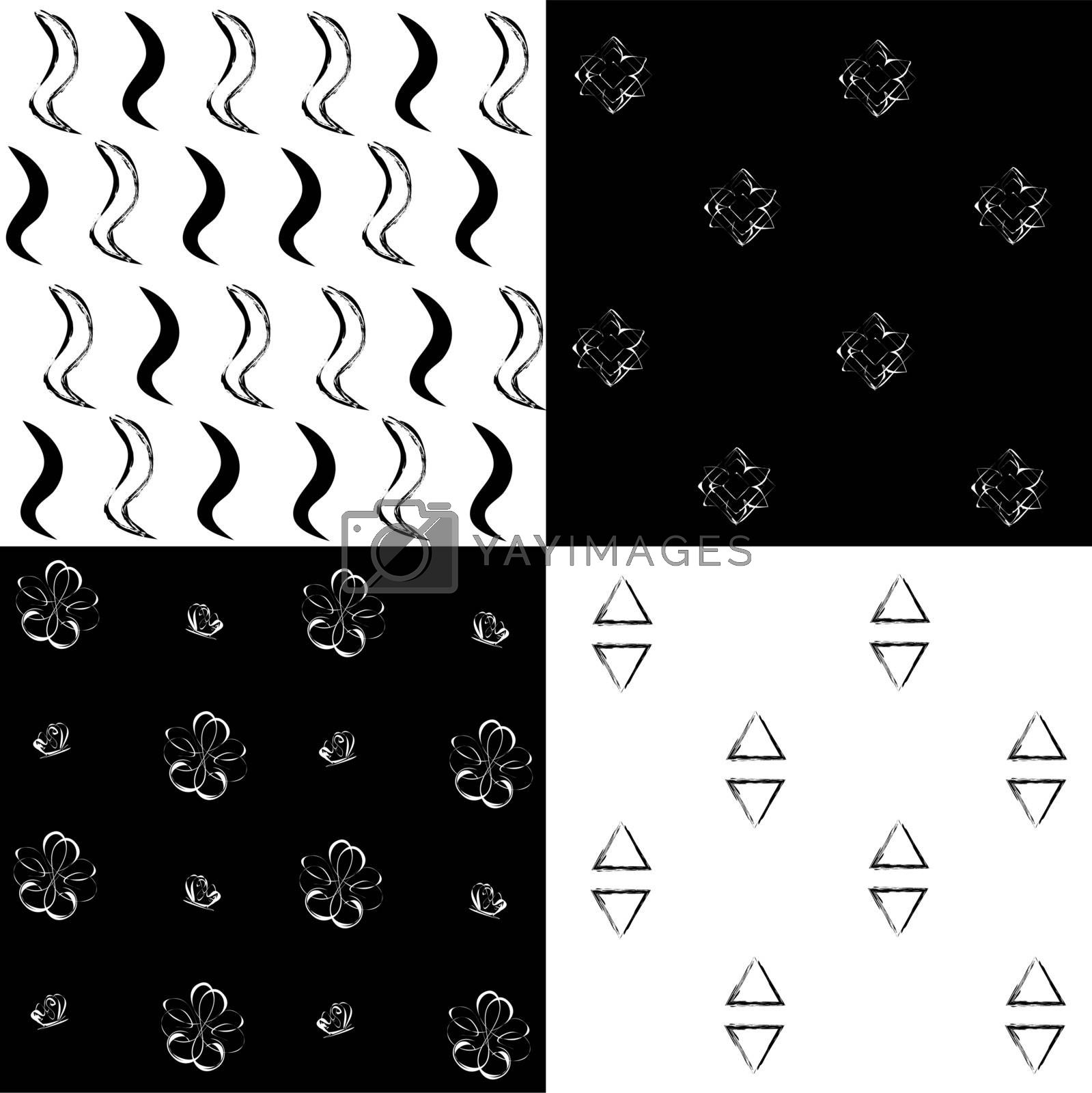 Four black and white simple patterns: waves, small flowers, triangles